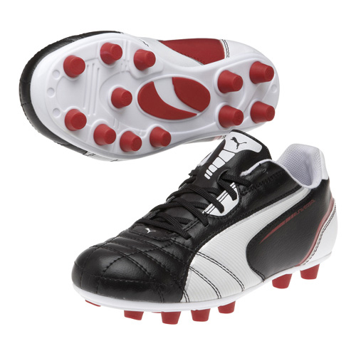 Puma Universal Firm Ground Football Boots - Black/White/Ribbon Red - Kids