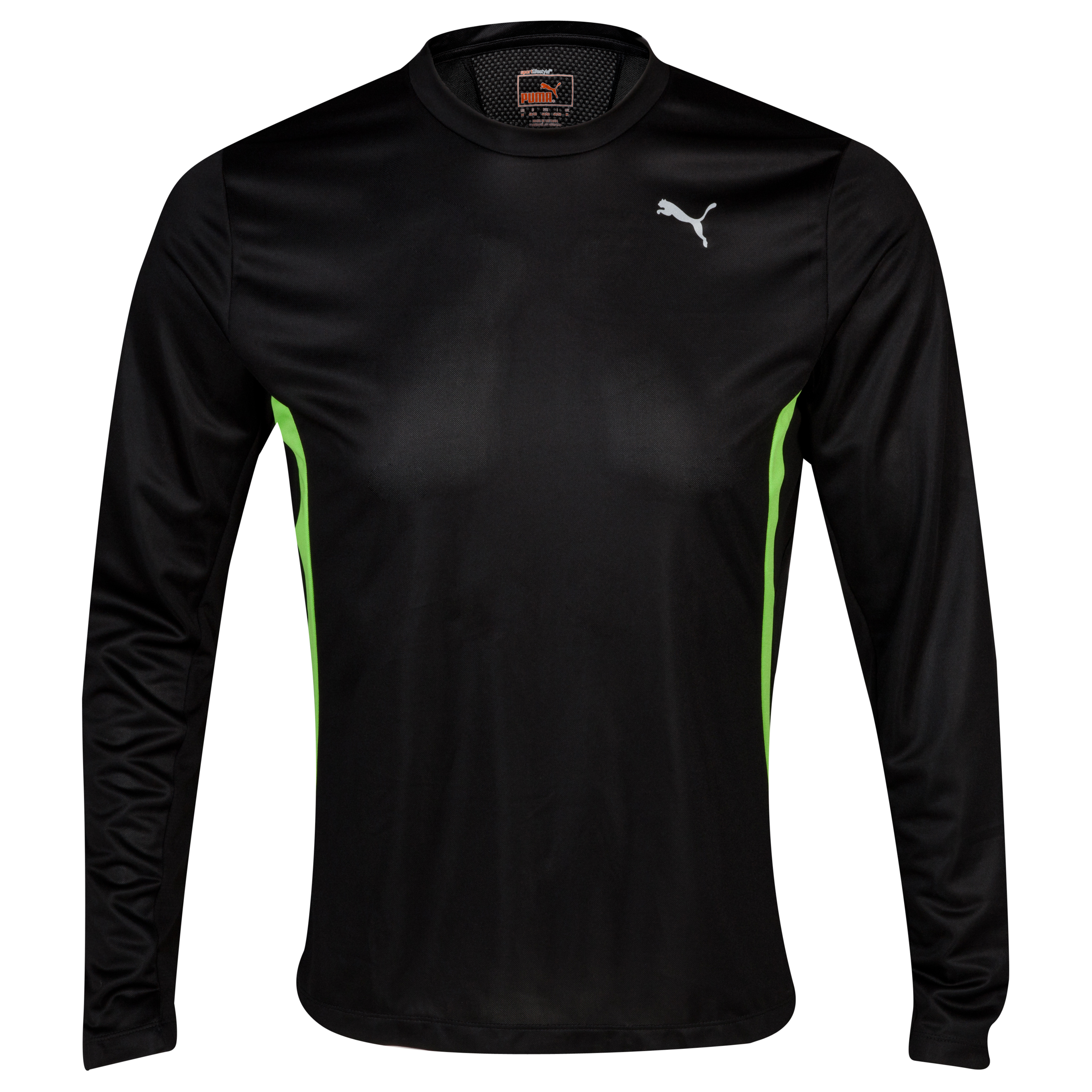 Puma PE Running L/S T-Shirt - Black/Jasmine Green