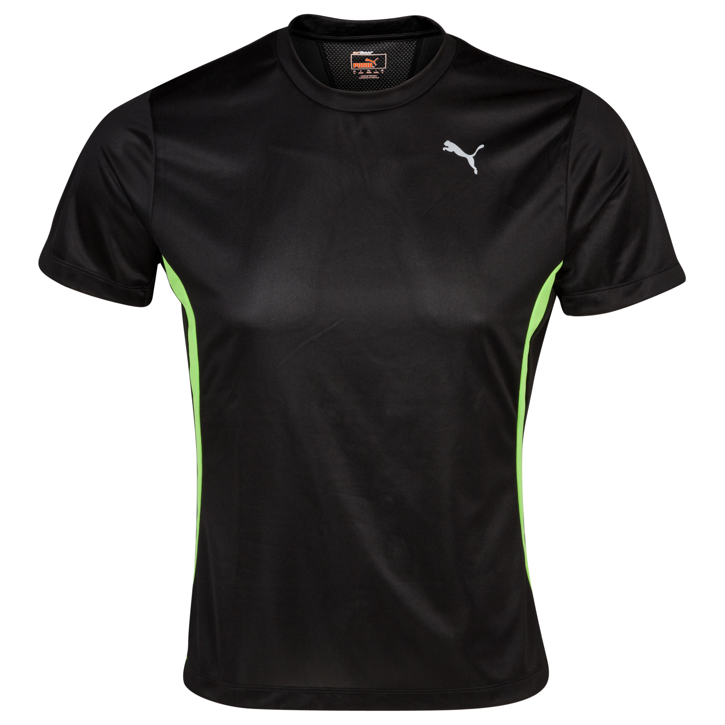 Puma PE Running S/S T-Shirt - Black/Jasmine Green