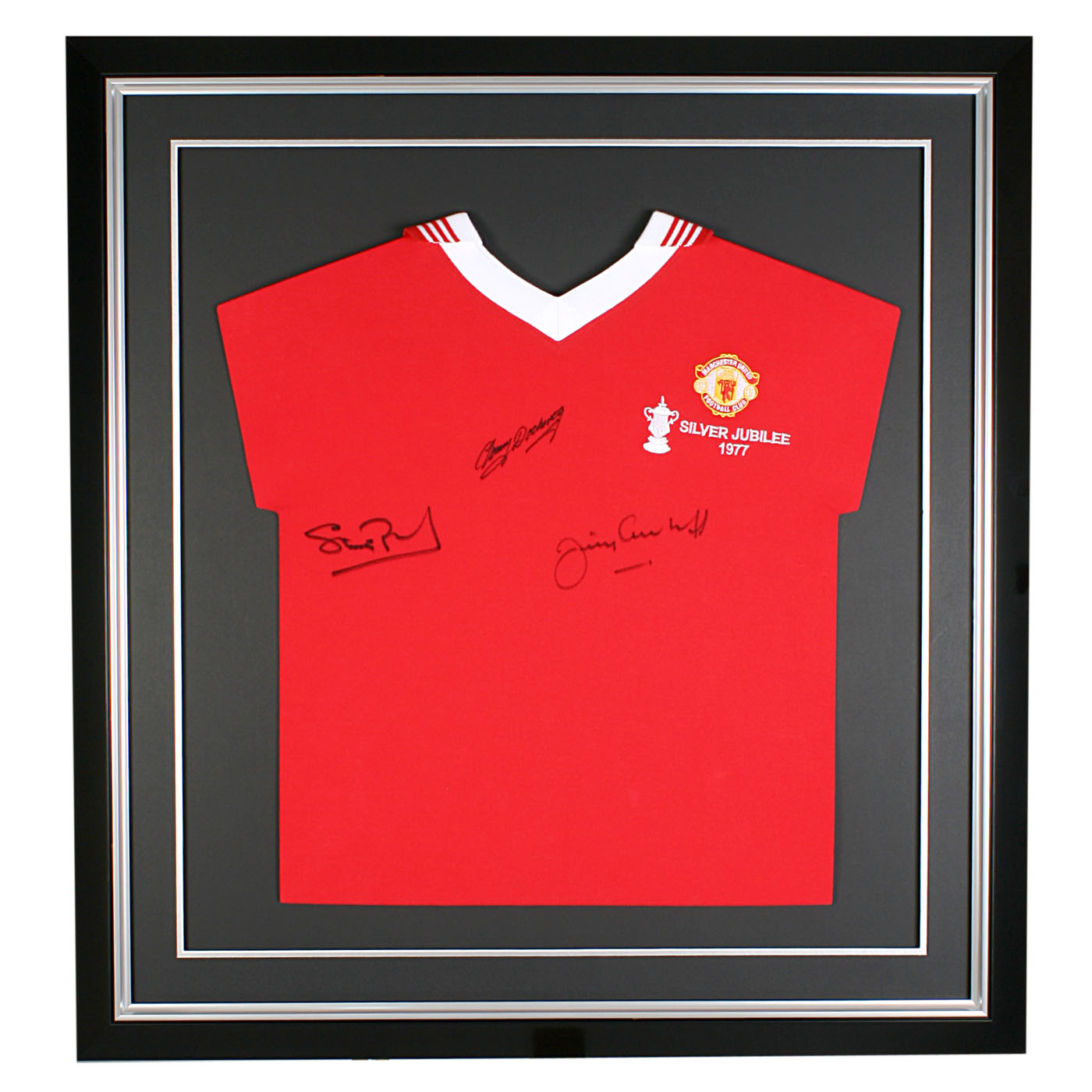 Signed 1977 Cup Final Manchester United Shirt - 29 x 27 Inch