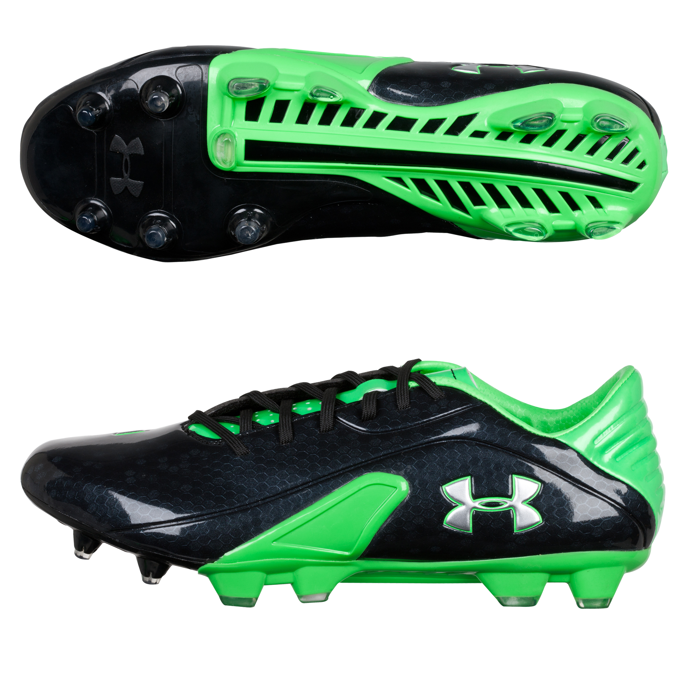 Under Armour Spine Blur Firm Ground Football Boots - Black/Poison/Metallic Silver