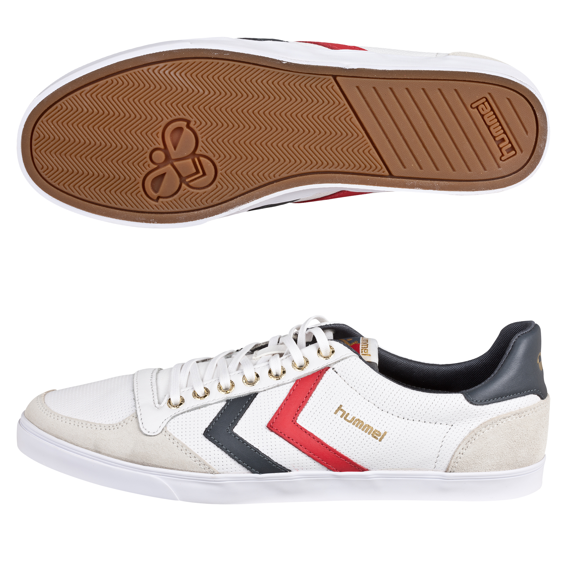 Hummel Slimmer Stadil Low Leather Trainers - White/Castlerock/Ribbon Red