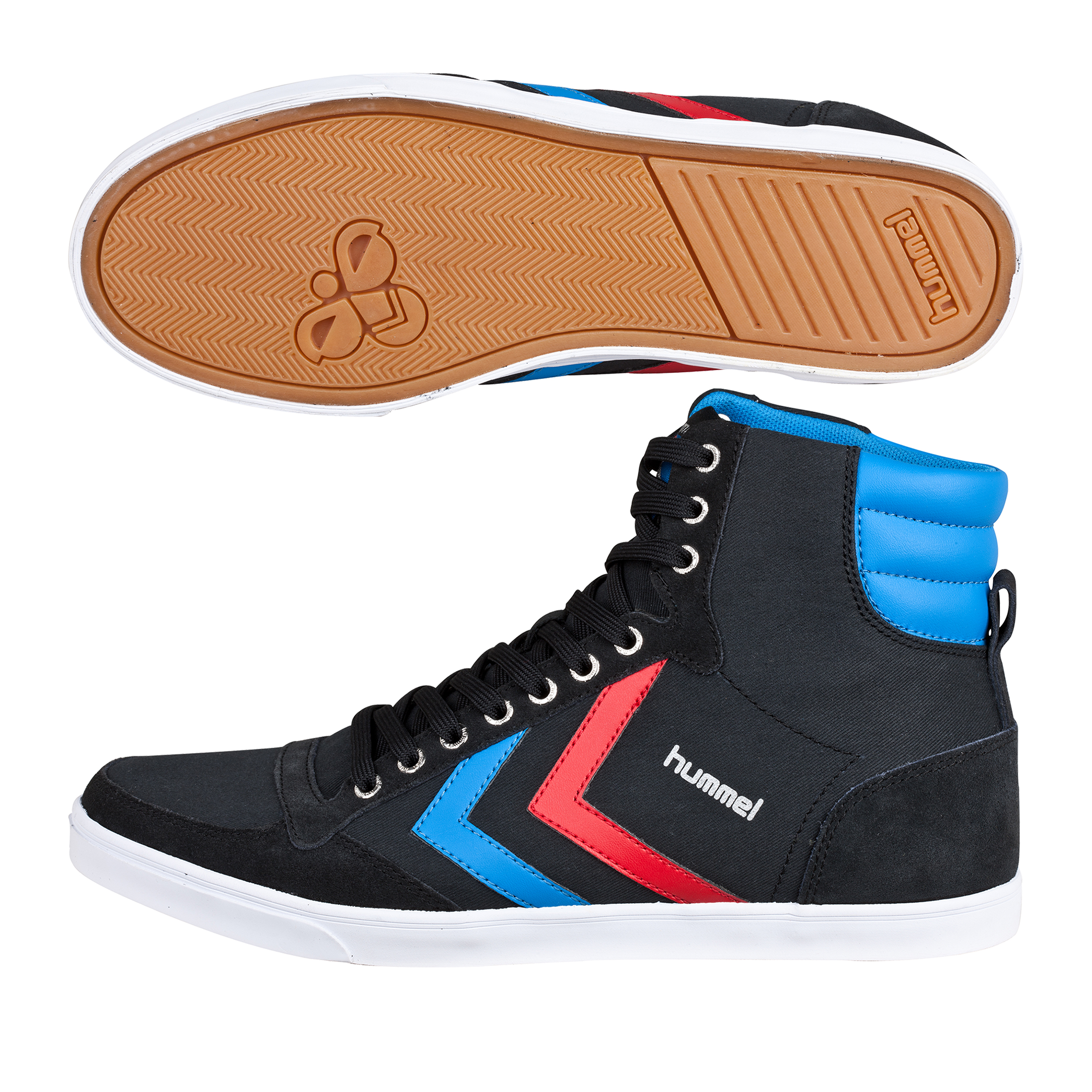 Hummel Slimmer Stadil High Canvas Trainers - Black/Brilliant Blue/Ribbon Red