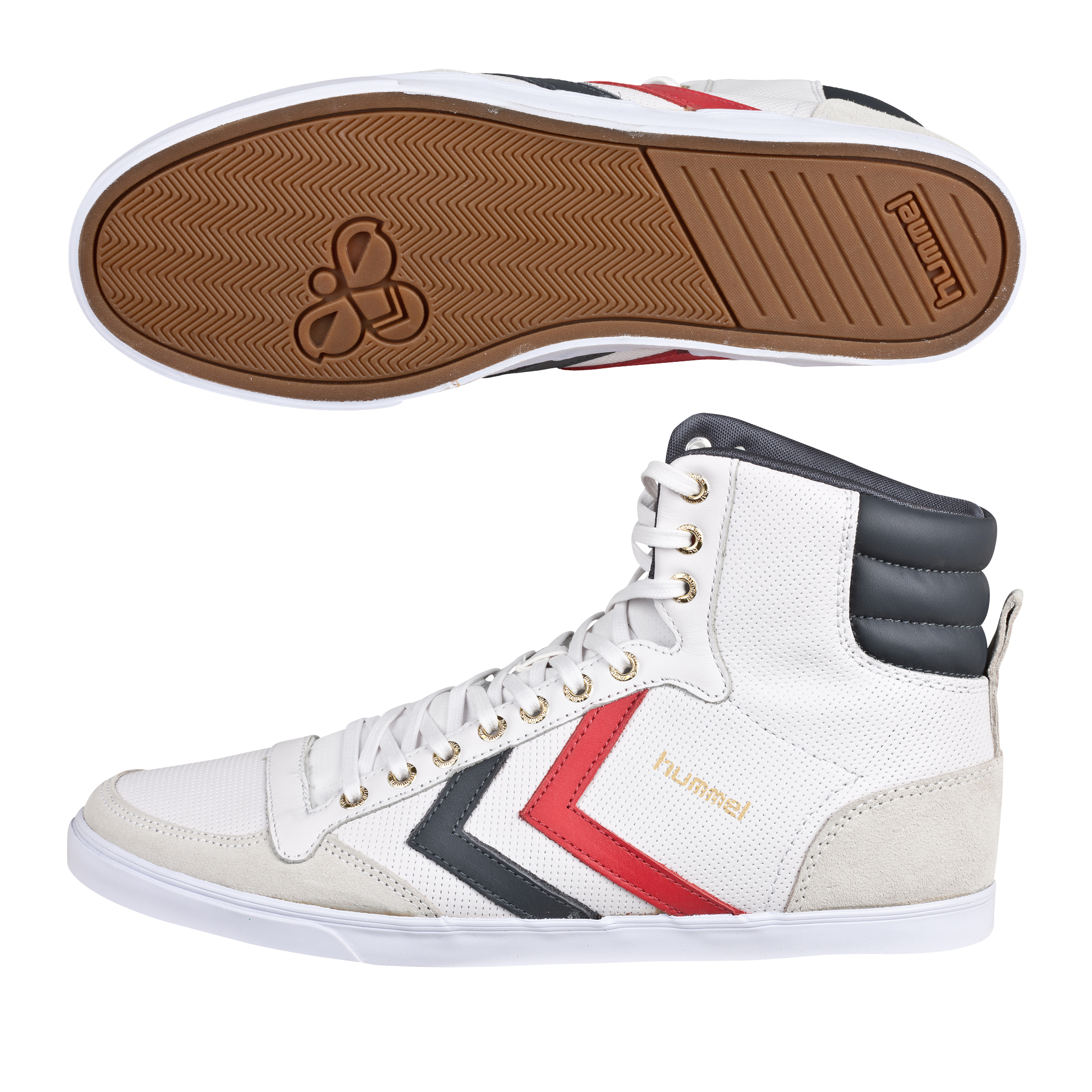 Hummel Slimmer Stadil High Leather Trainers - White/Castlerock/Ribbon Red