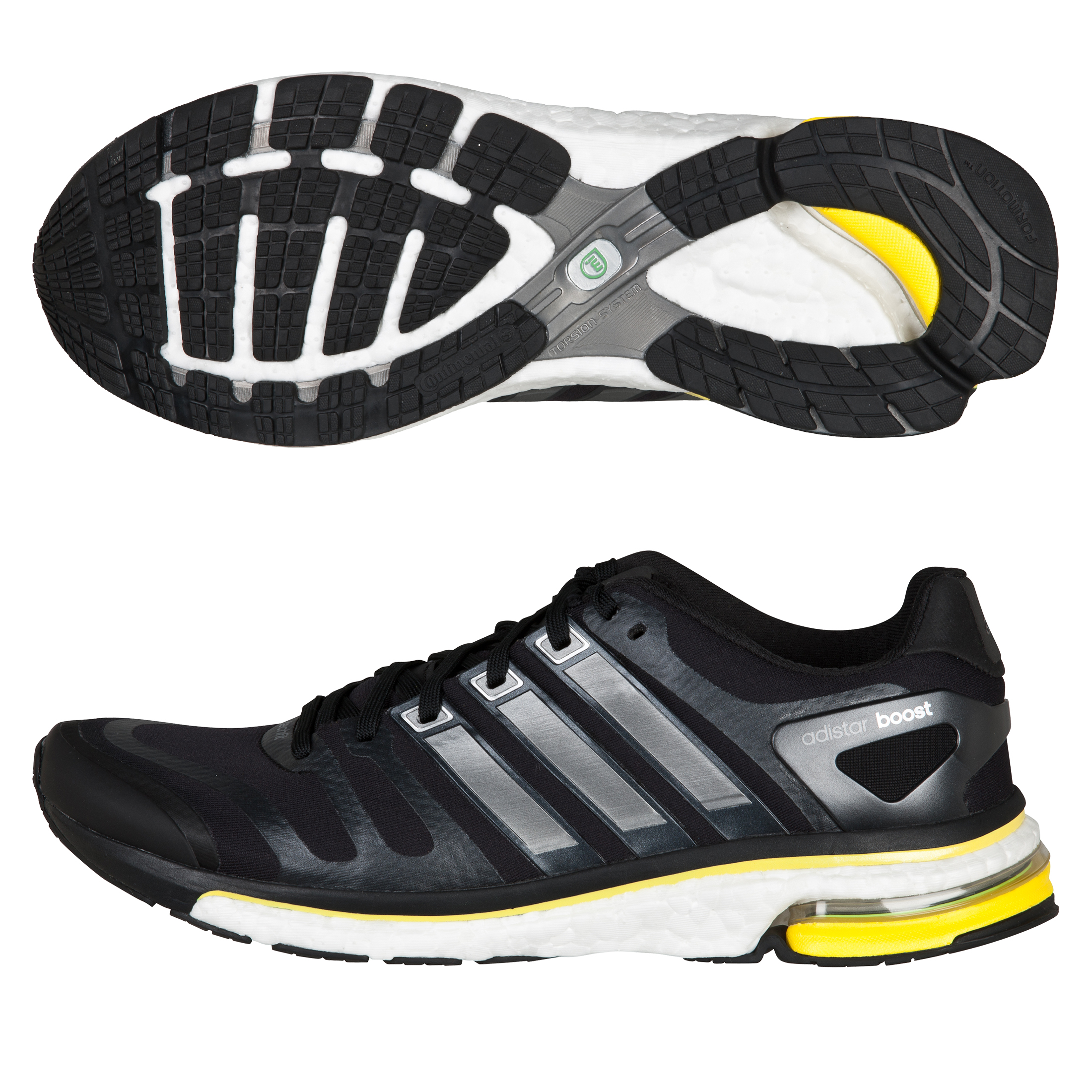 adidas Adistar Boost Running Trainers - Black/Neo Iron/Vivid Yellow