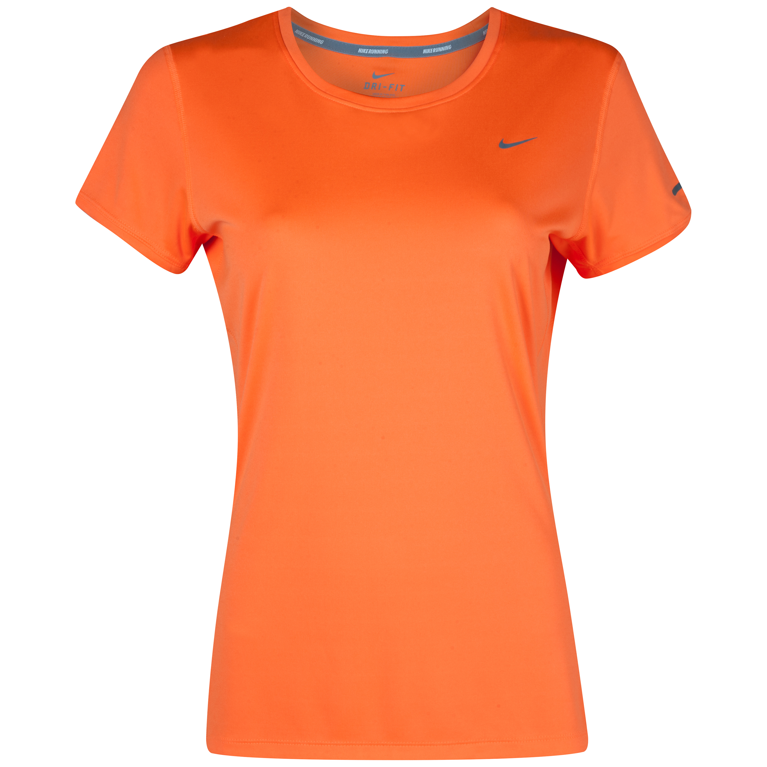 Nike Miler Short Sleeve Crew Top - Orange - Womens
