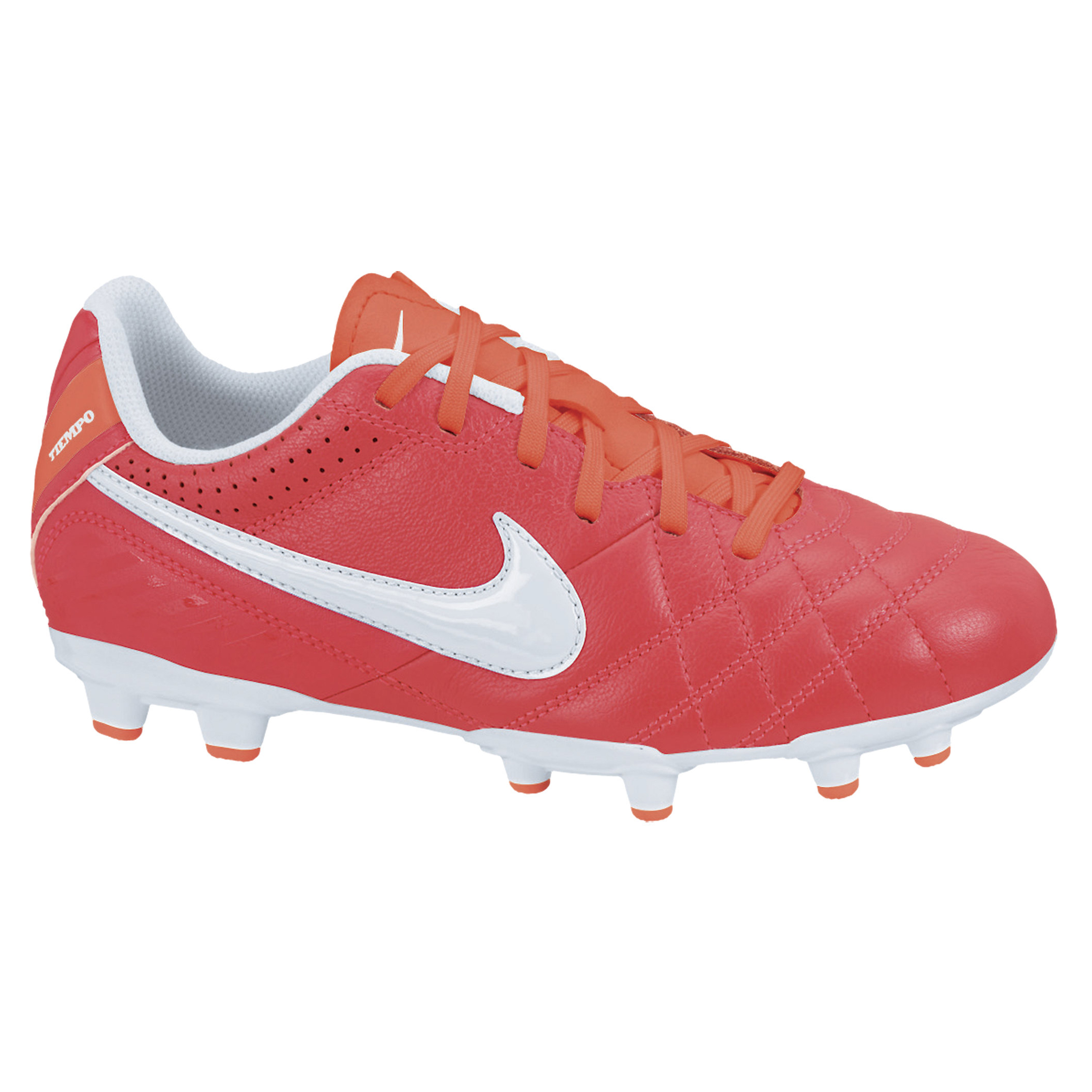 Nike Tiempo Natural IV LTR Firm Ground Football Boots - Sunburst/White/Total Crimson - Kids
