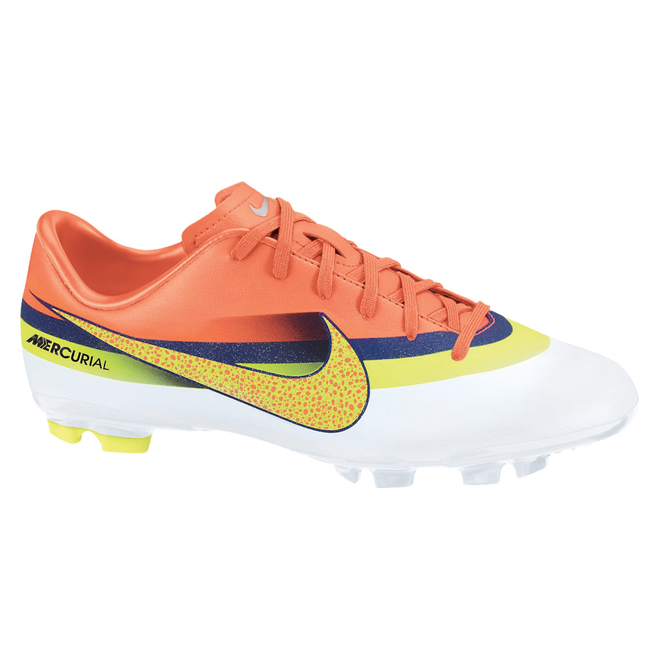 Nike Mercurial Victory IV CR7 Firm Ground Football Boots - White/Volt/Loyal Blue/Total Crimson - Kids