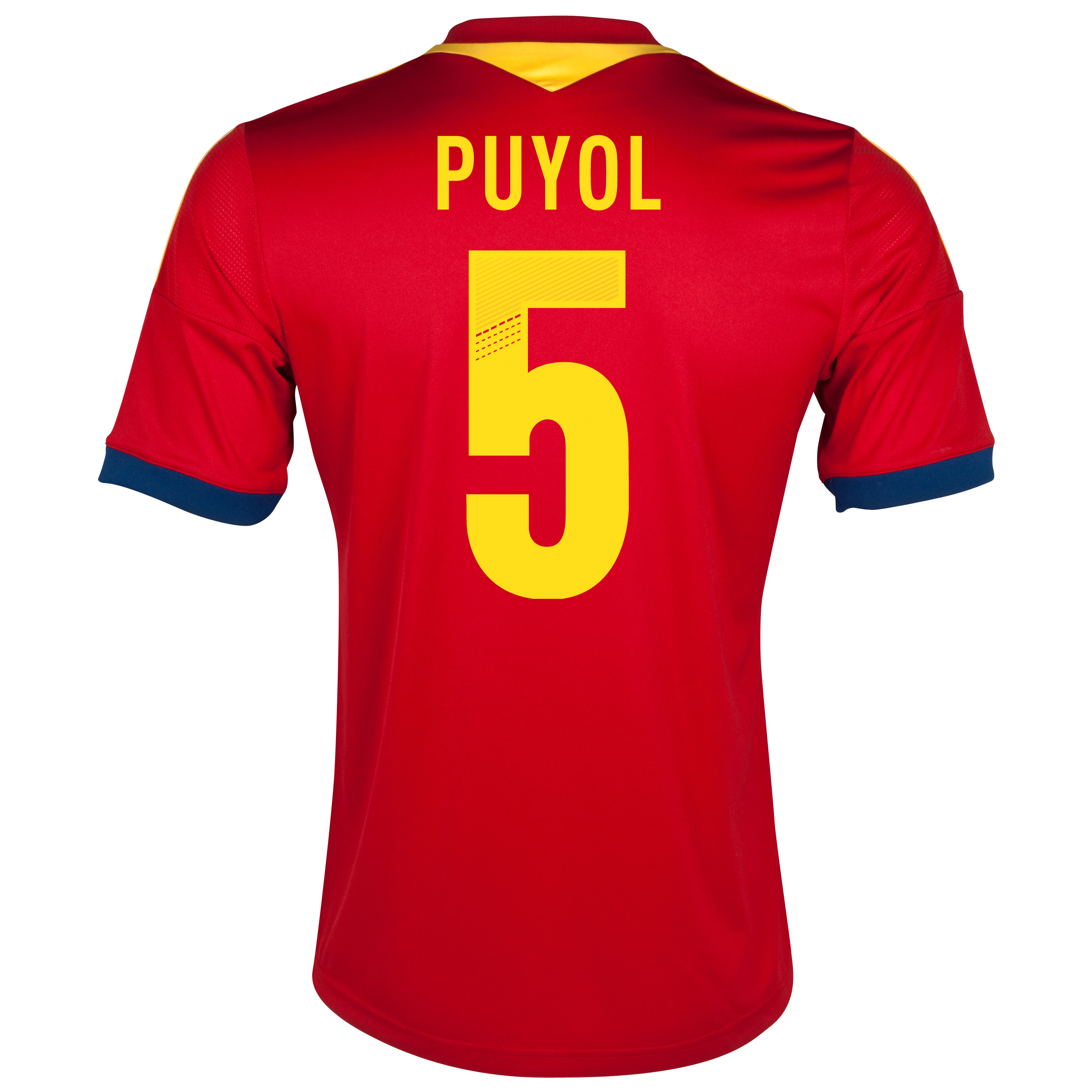Spain Home Shirt 2013 with Puyol 5 printing