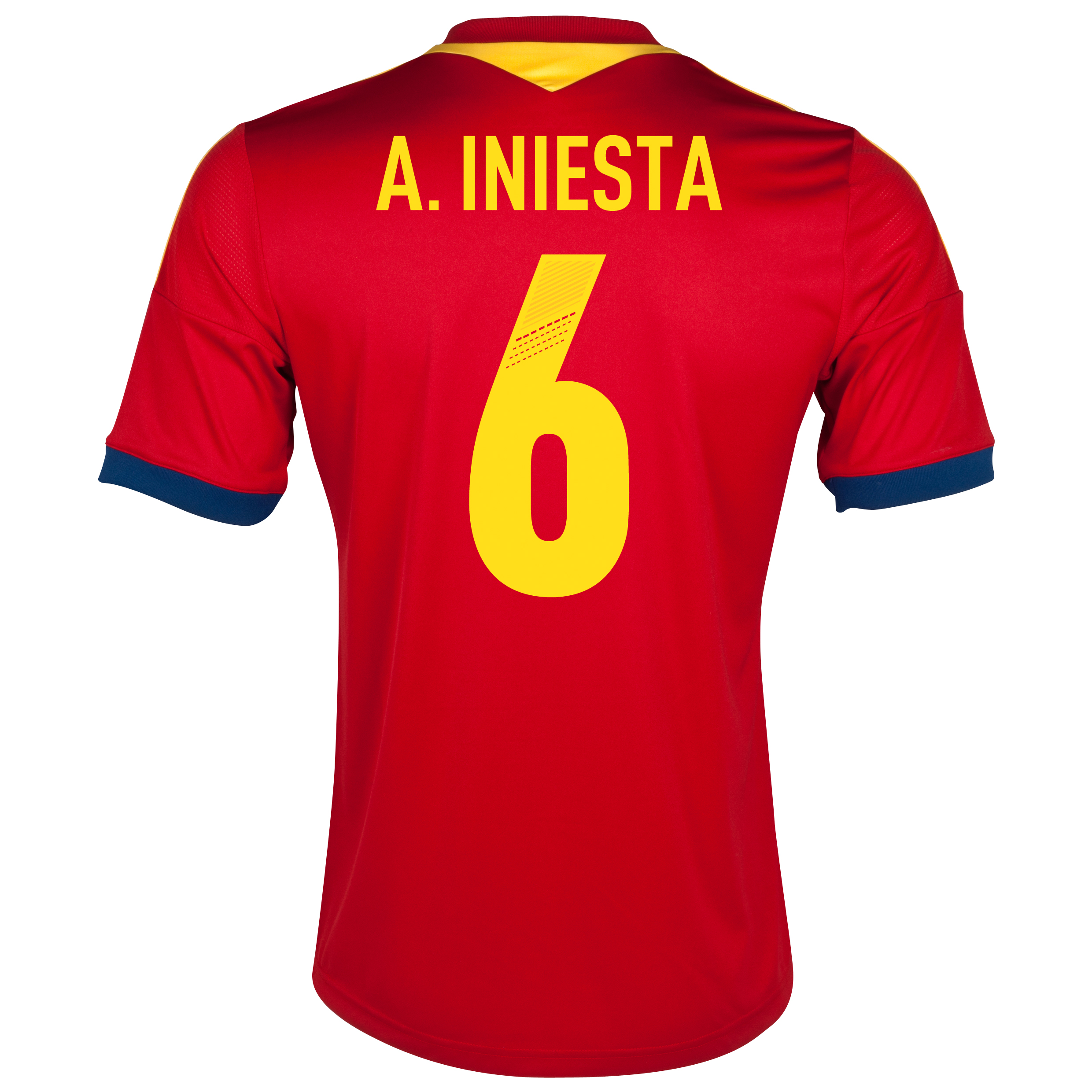 Spain Home Shirt 2013 - Youths with A.Iniesta 6 printing