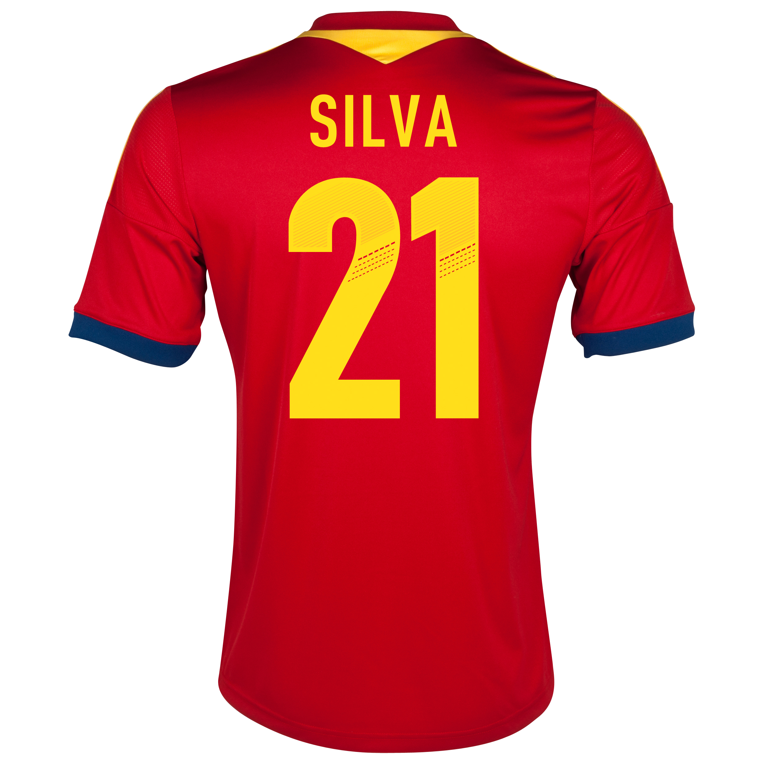 Spain Home Shirt 2013 - Youths with Silva 21 printing