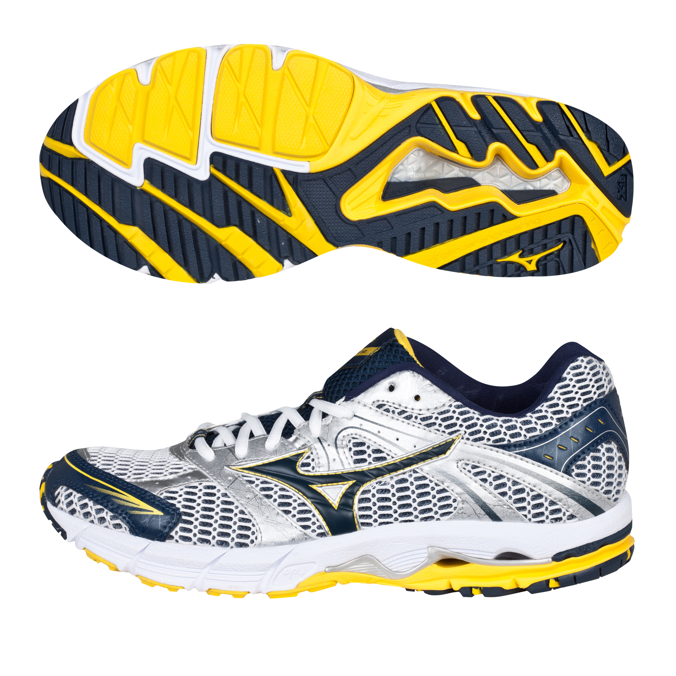 Mizuno Wave Alchemy 12 Trainer - White/Dress Blue/Cyber Yellow