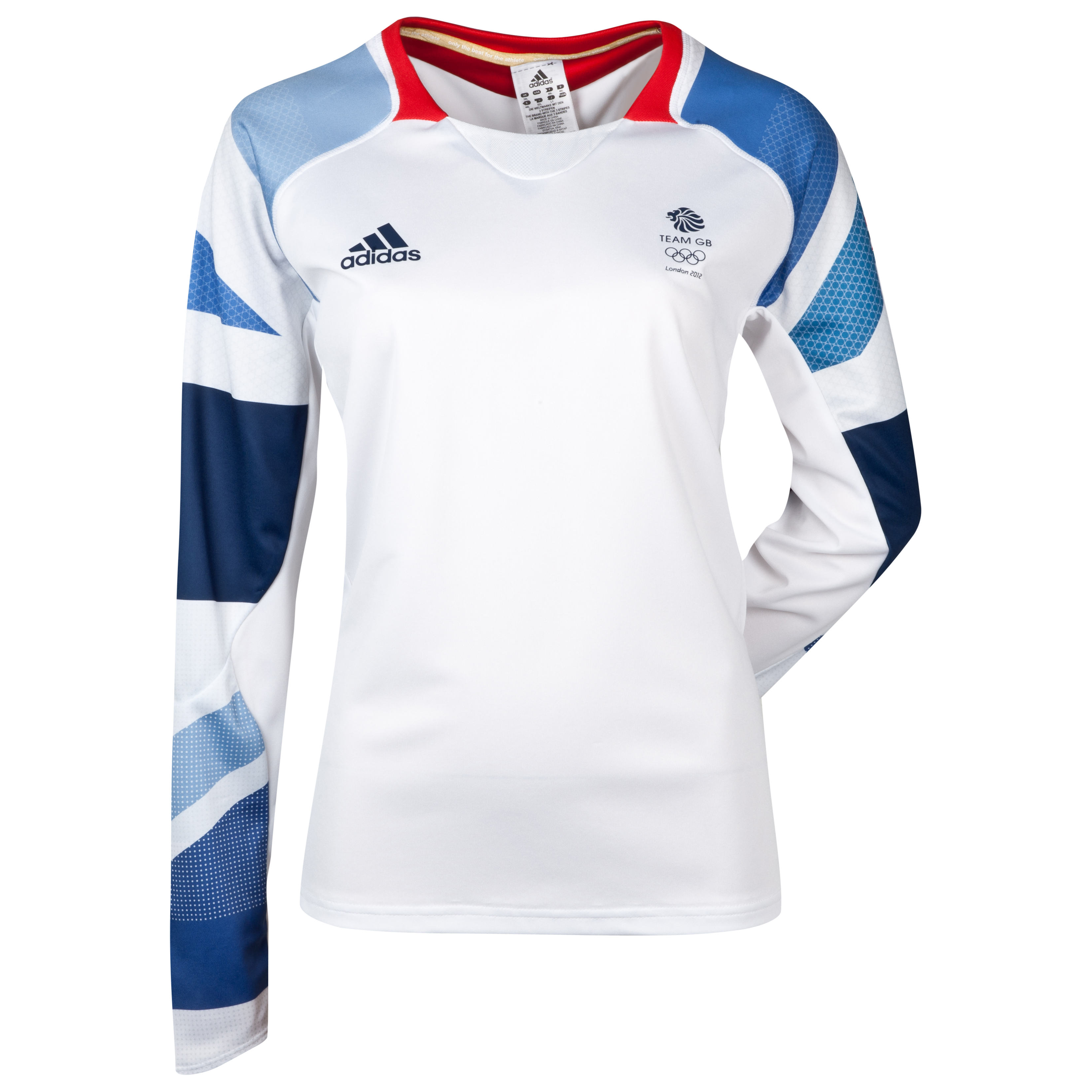 adidas Team GB Long Sleeve Climacool Perf T-Shirt - Womens - White/Vivid Red
