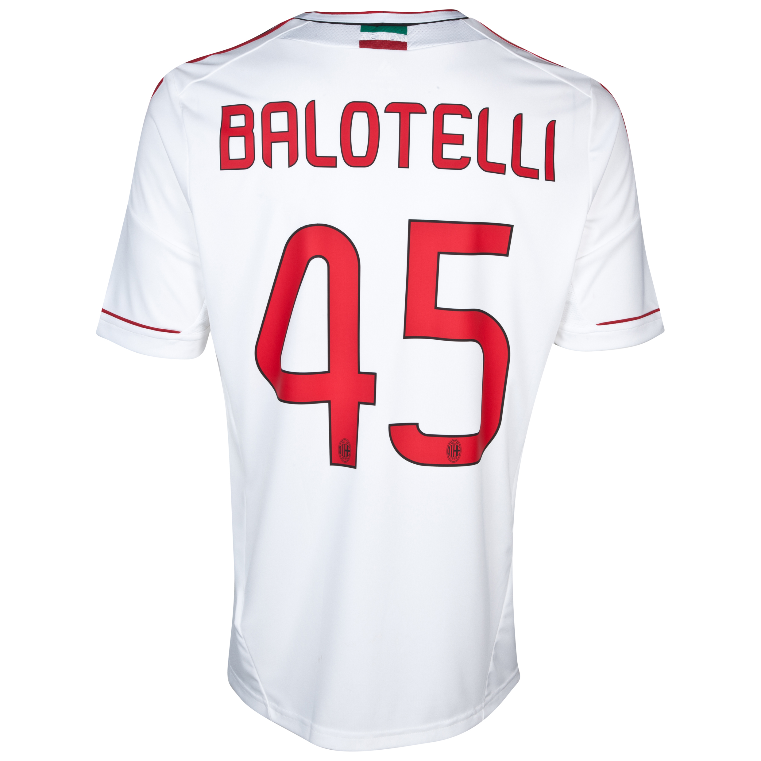 AC Milan Away Shirt 2012/13 with Balotelli 45 printing