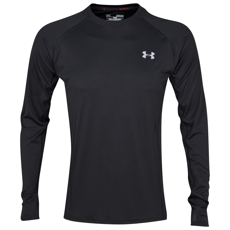 Running Under Armour Heatgear Flyweight Run Longsleeve Top - Black/Reflective Dk Grey