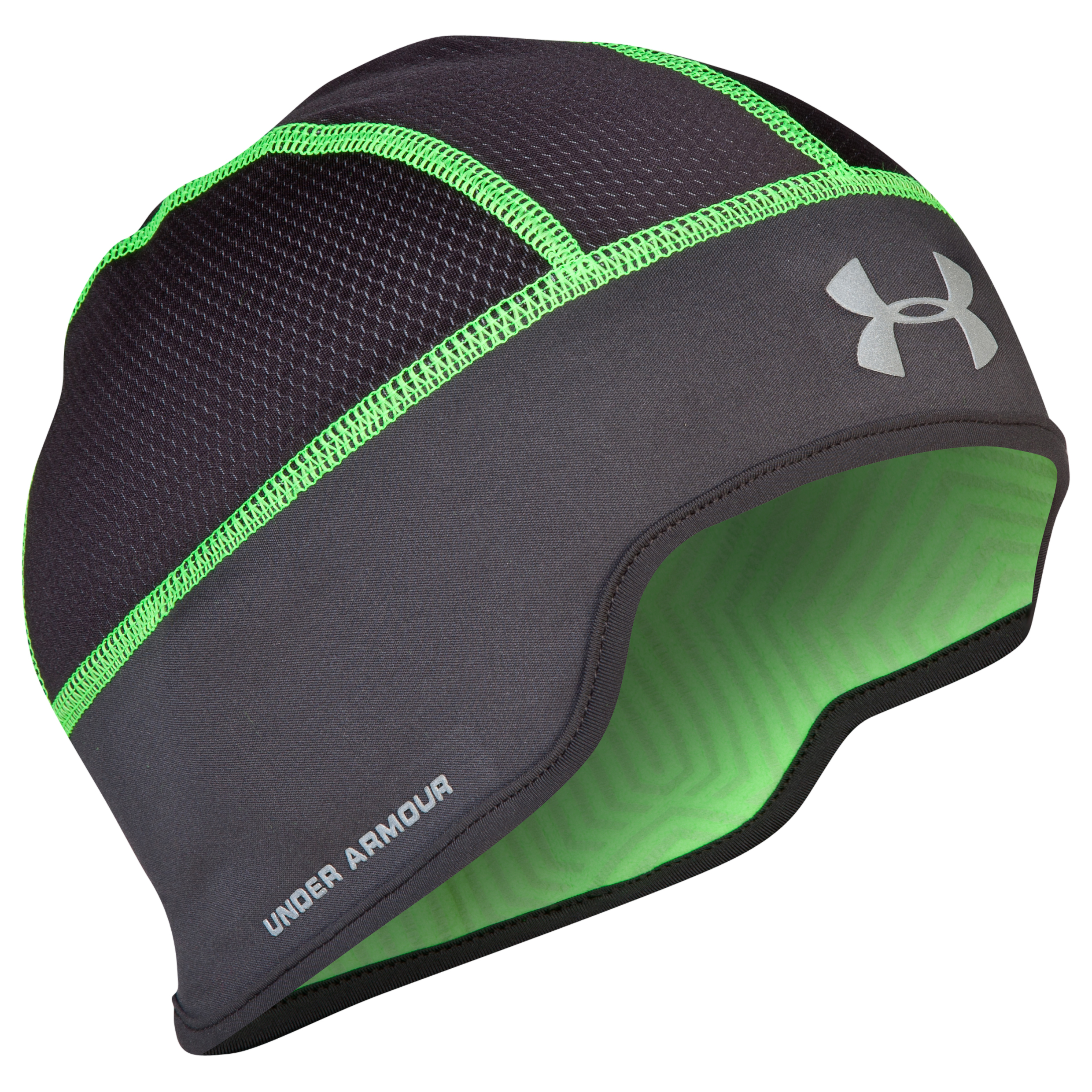 Running Coldgear Infrared Kick Asphalt Beanie - Charcoal/Hyper Green/Reflective Black