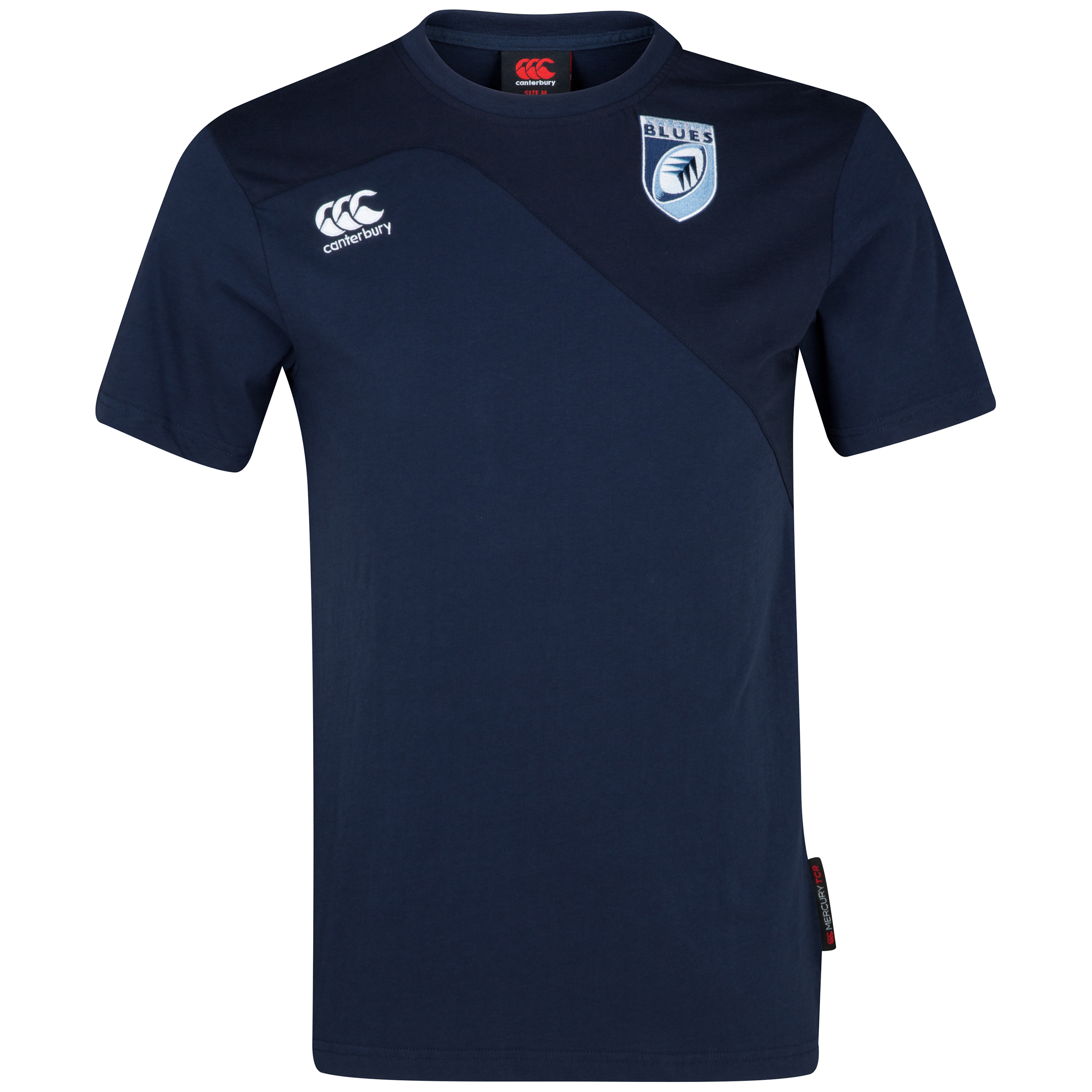 Cardiff Blues Rugby Training Cotton T-Shirt Blue