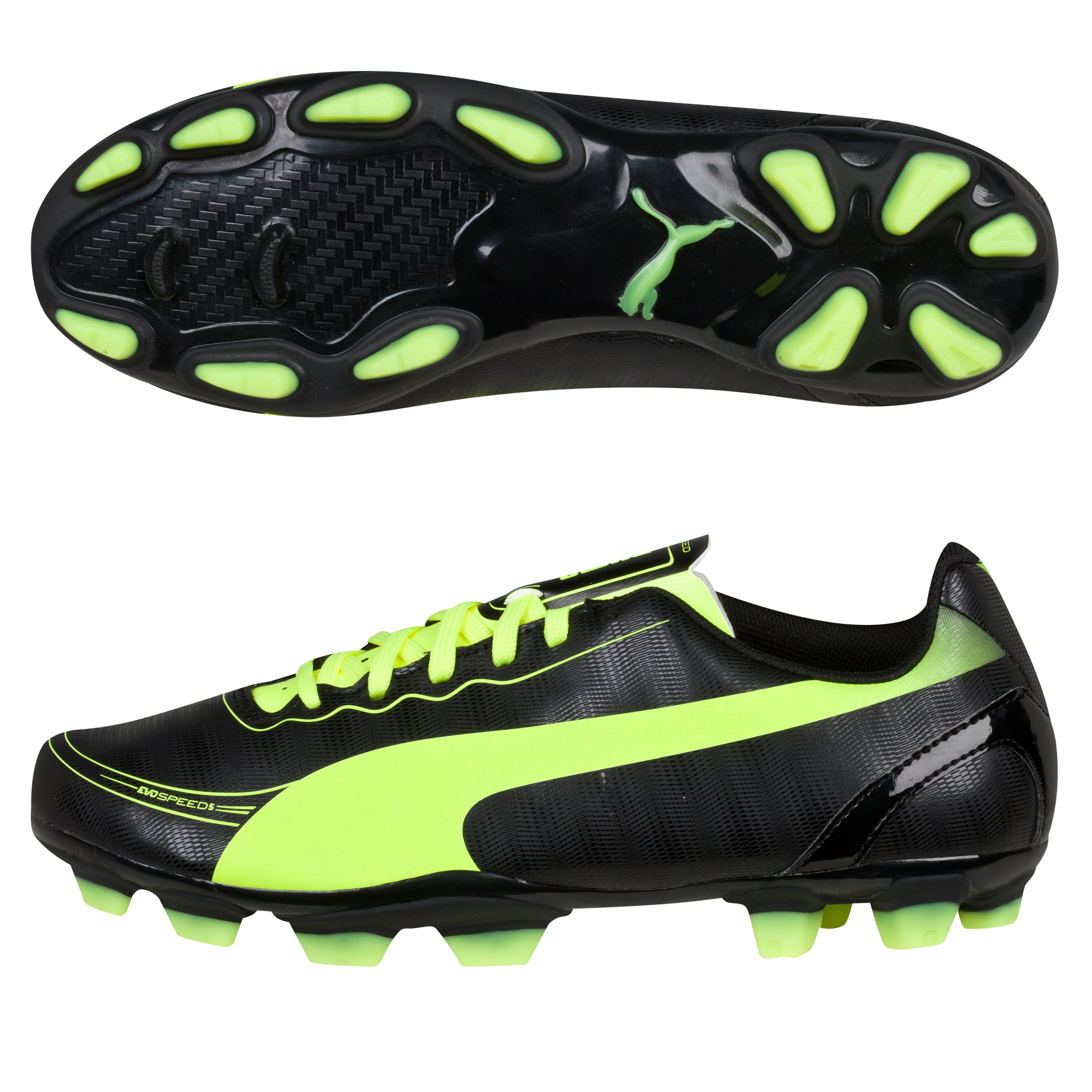 Puma evoSPEED 5.2 Firm Ground Football Boots - Kids Black