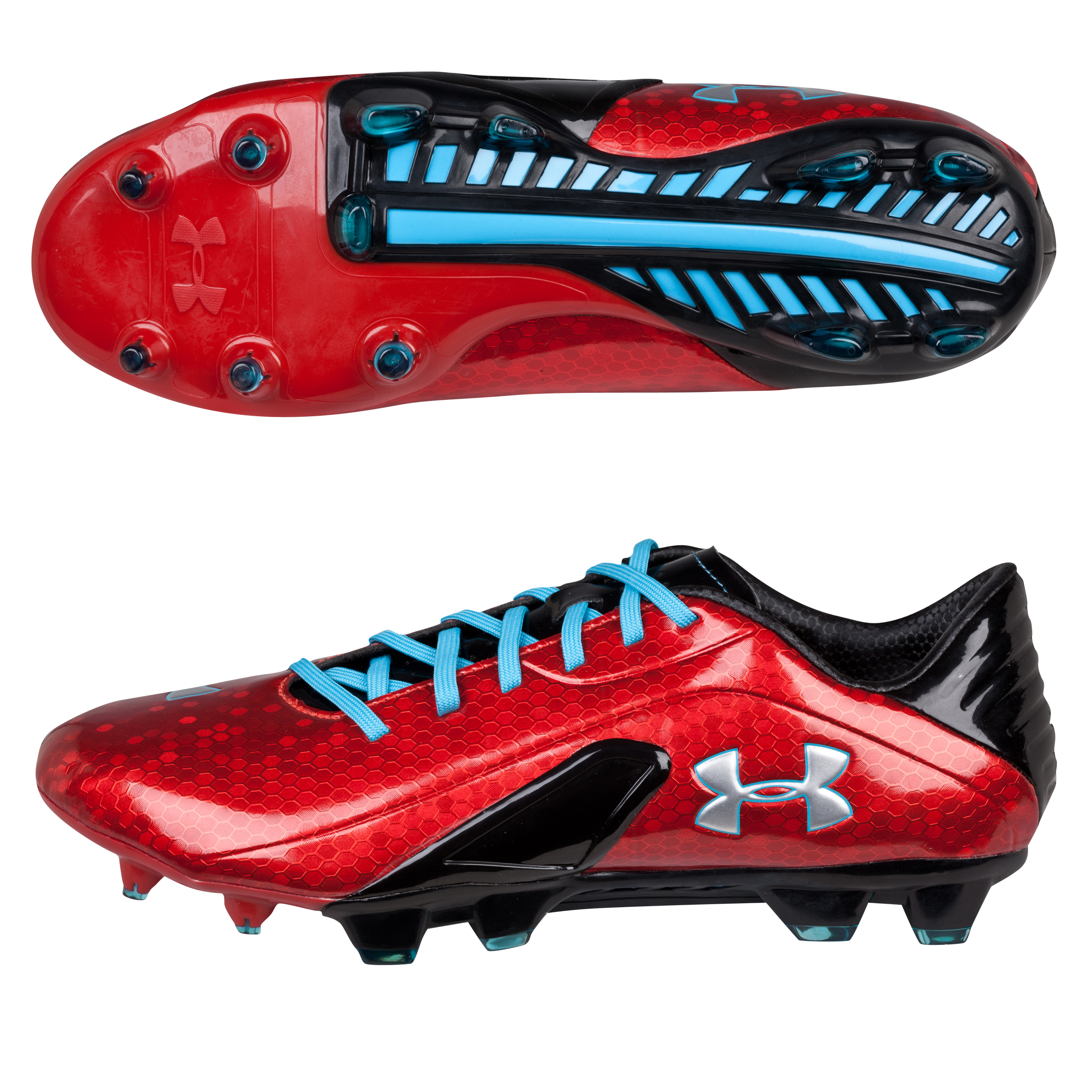 Under Armour Spine Blur III Firm Ground Football Boots-Red/Blk/Blue Red