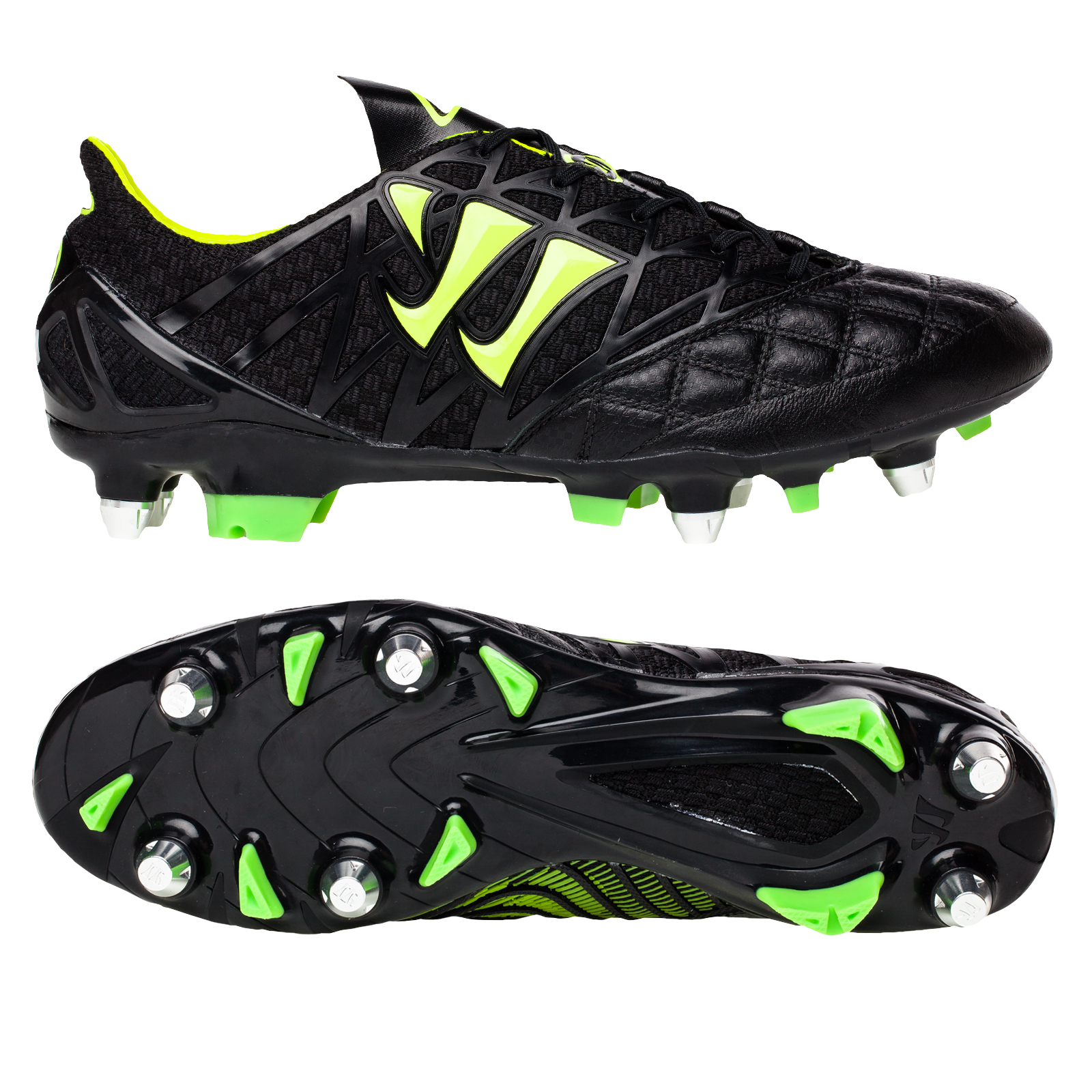 Warrior Sports Gambler K-Lite Soft Ground Football Boots-Black/Jazz Green Black
