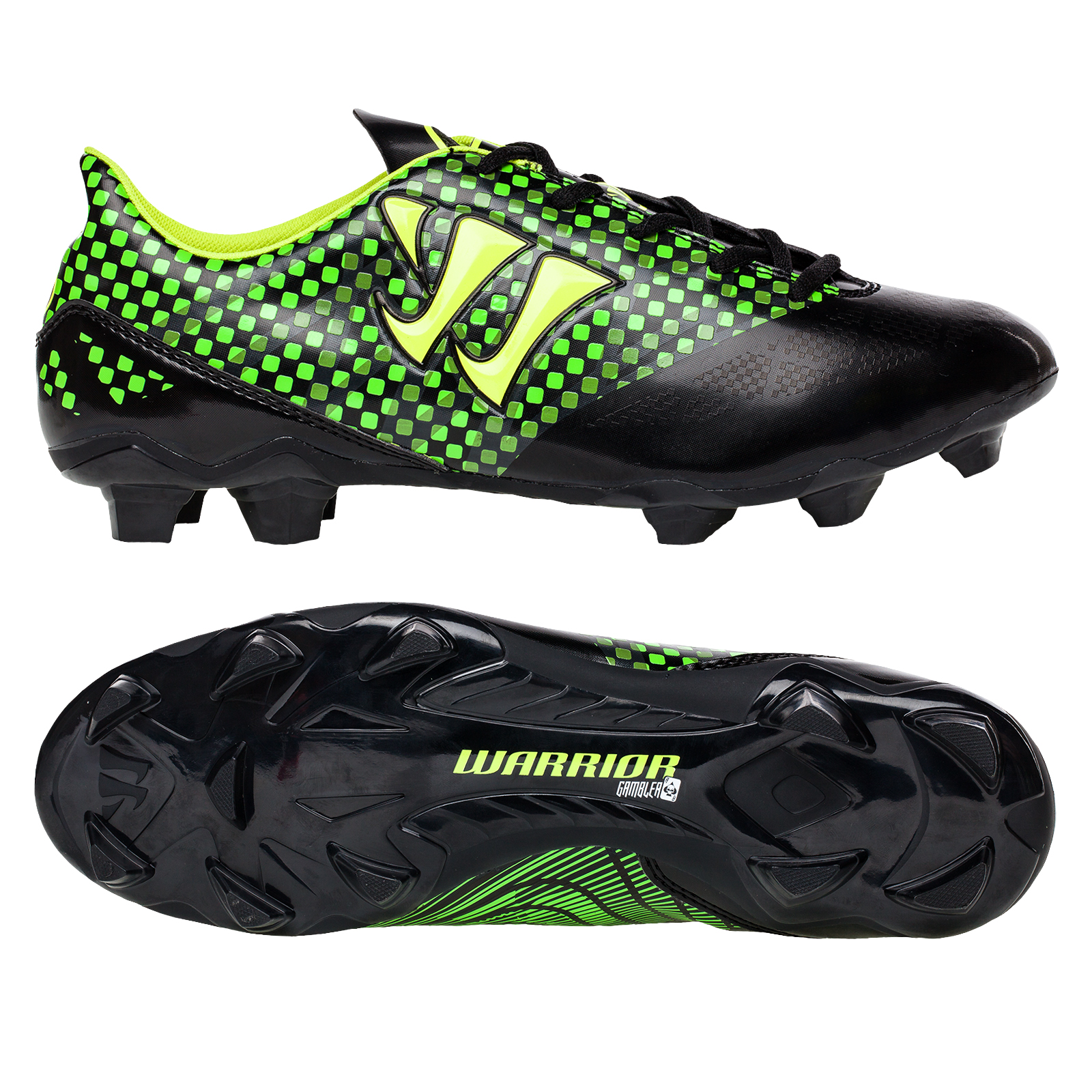 Warrior Sports Gambler Combat Firm Ground Football Boots -Blk/Green Black