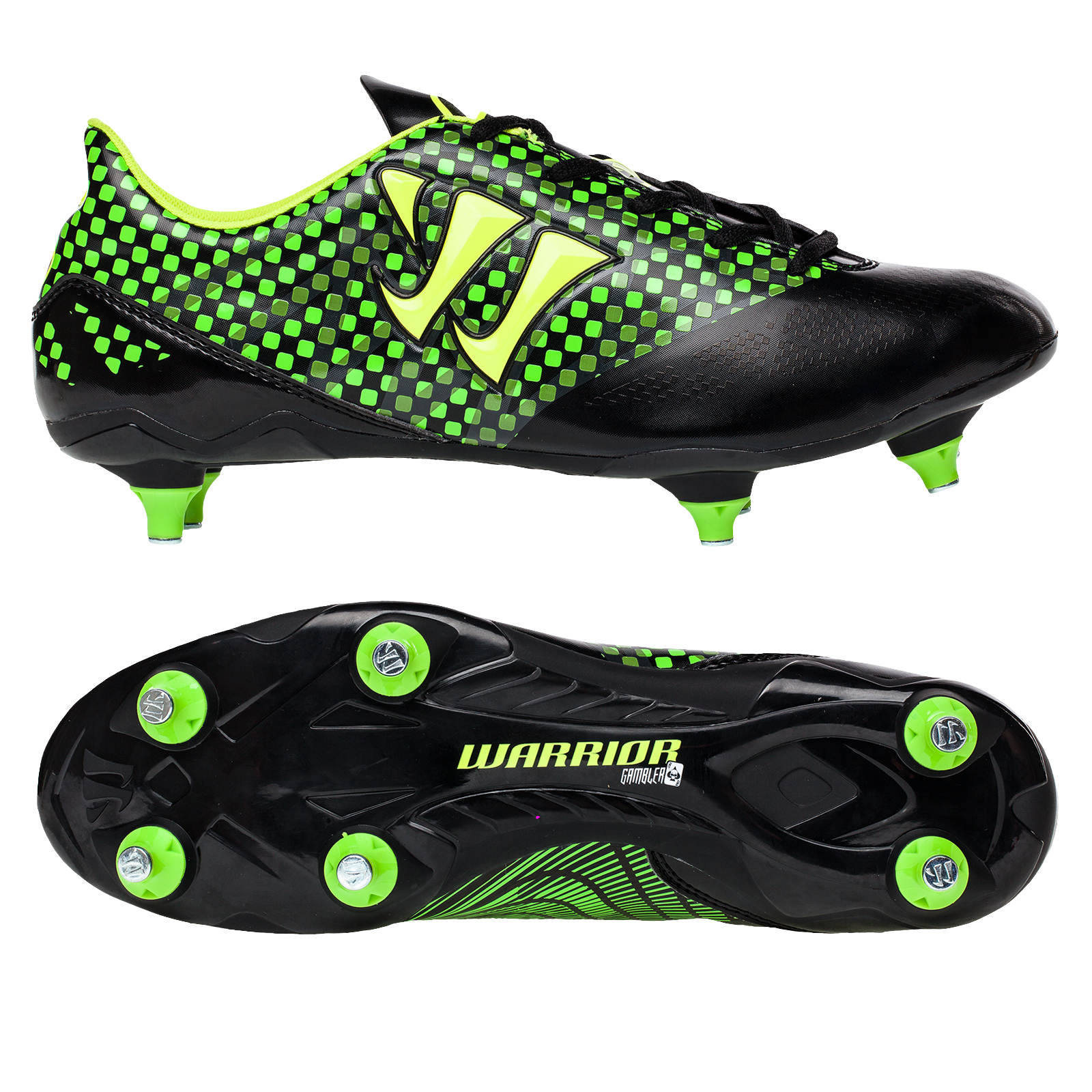 Warrior Sports Gambler Combat Soft Ground Football Boots- Blk/Grn Black