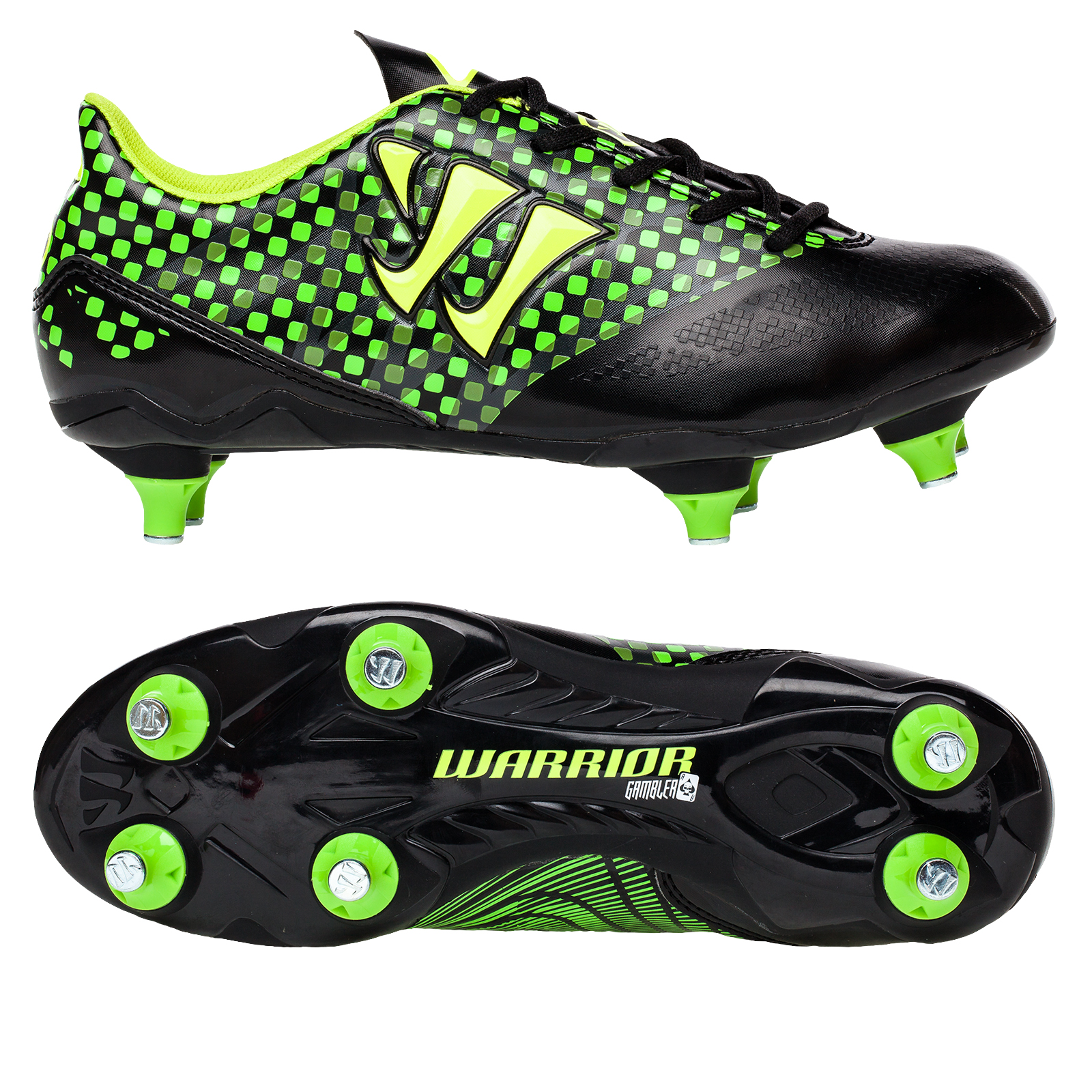 Warrior Sports Gambler Combat Soft Ground Football Boots -Blk/Grn-Junior Black