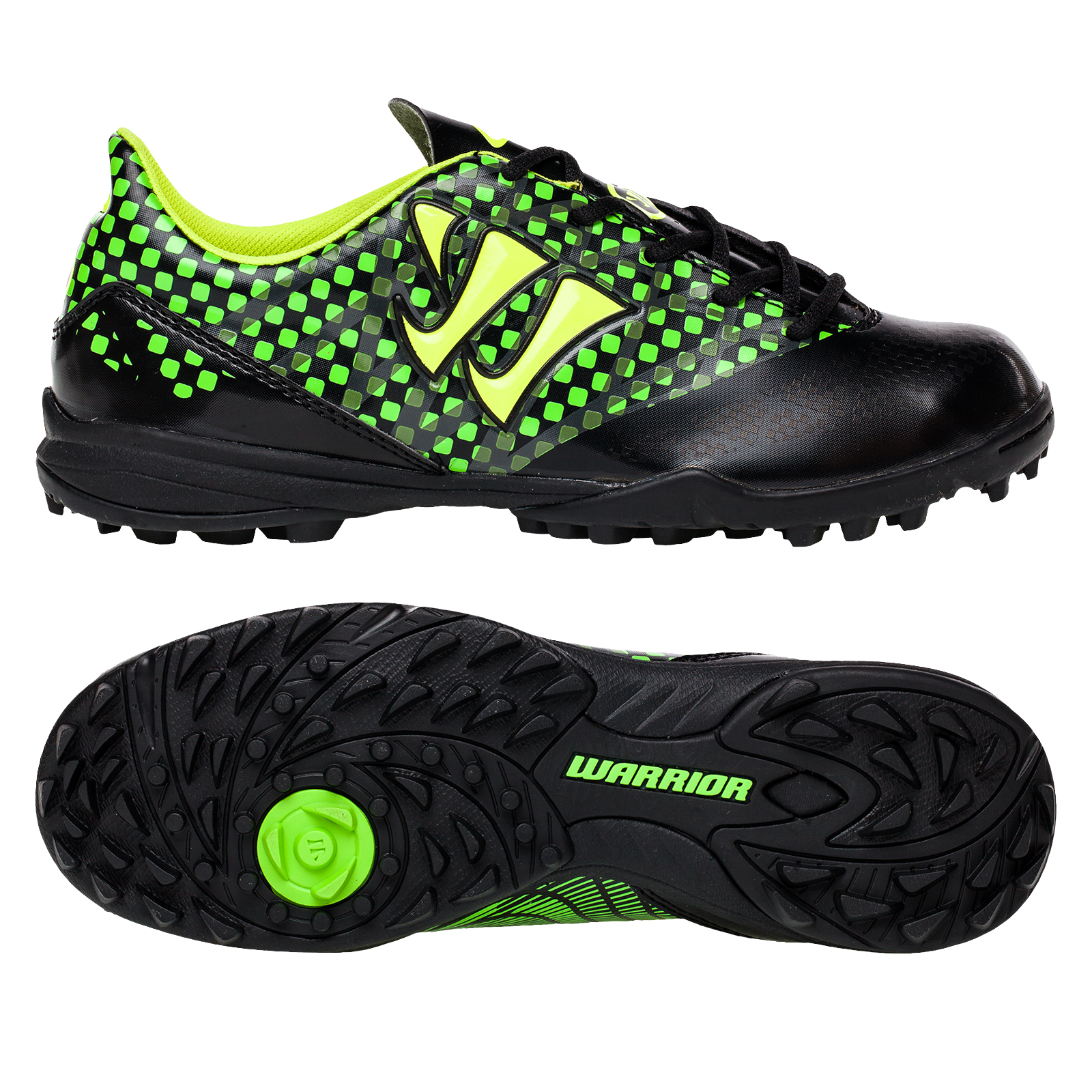 Warrior Sports Gambler Combat Astroturf Trainers -Blk/JGrn-Junior Black