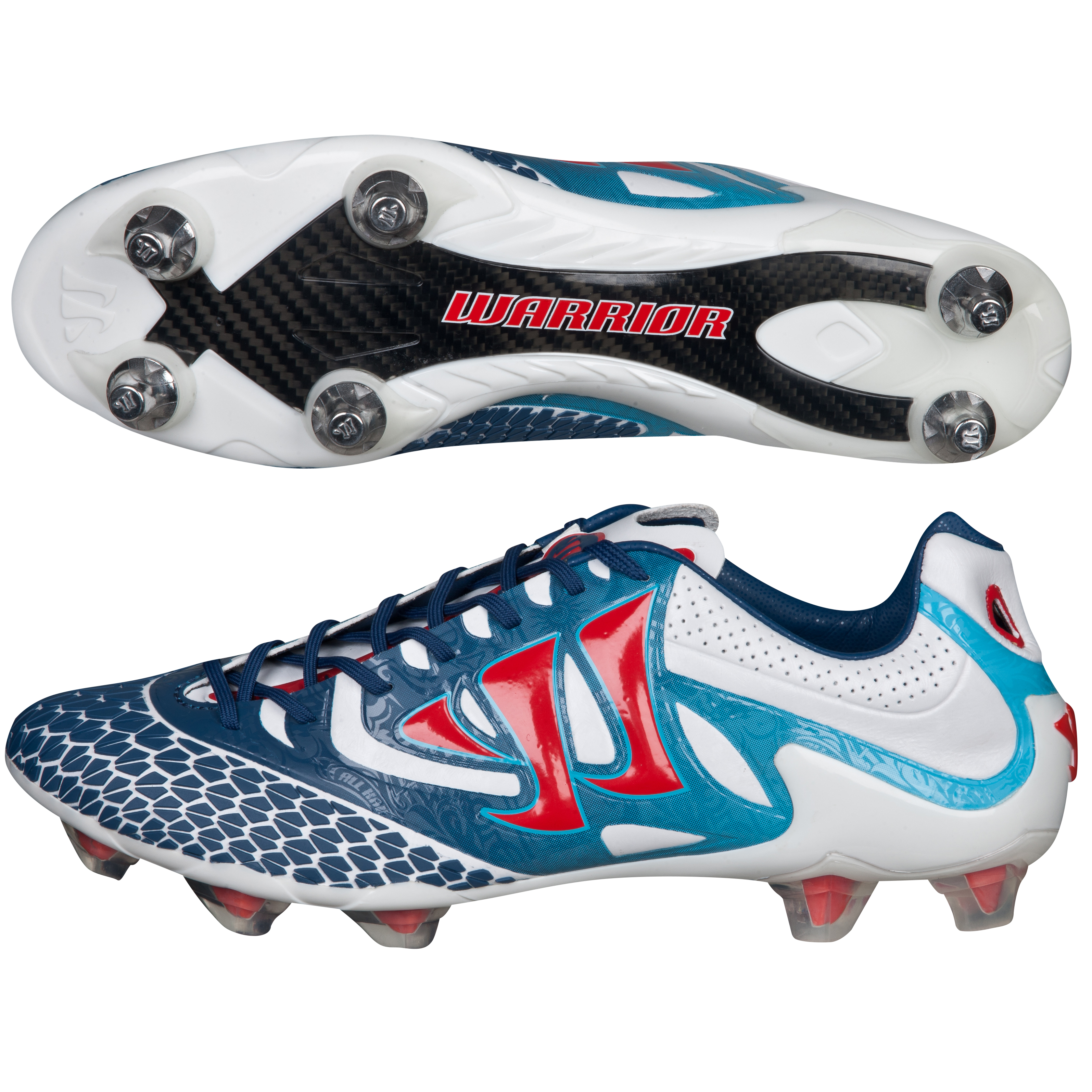 Warrior Sports Skreamer S-Lite Firm Ground Football Boots-Wht/Navy/Red White
