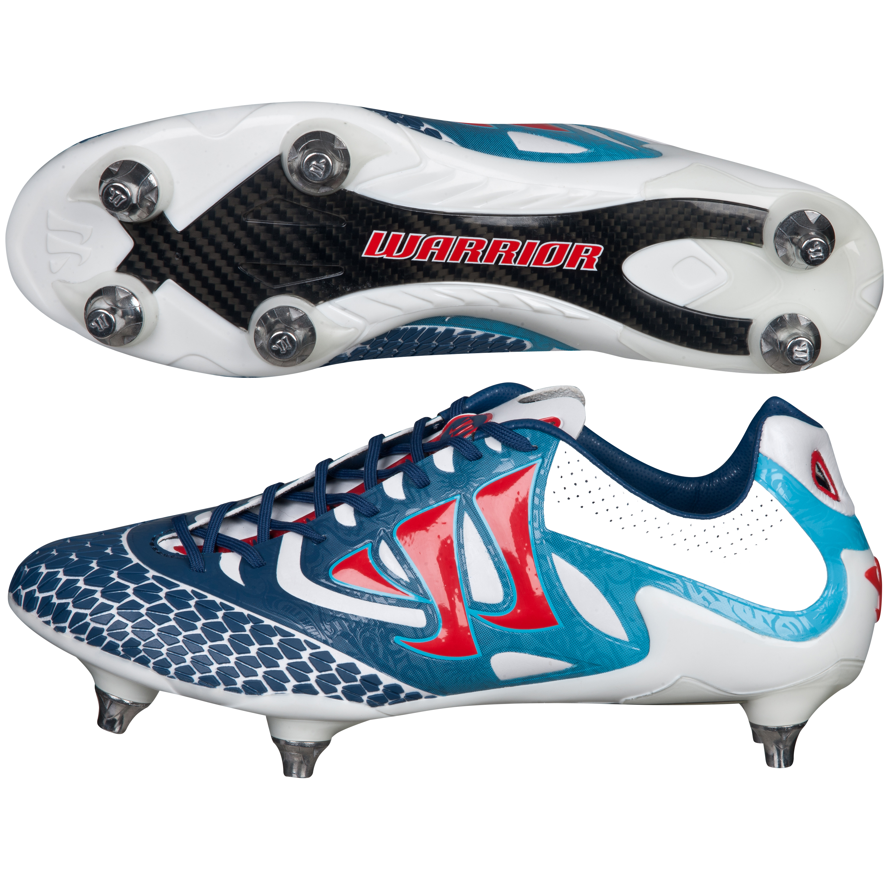 Warrior Sports Skreamer S-Lite Soft Ground Football Boots-Wht/Navy/Red White