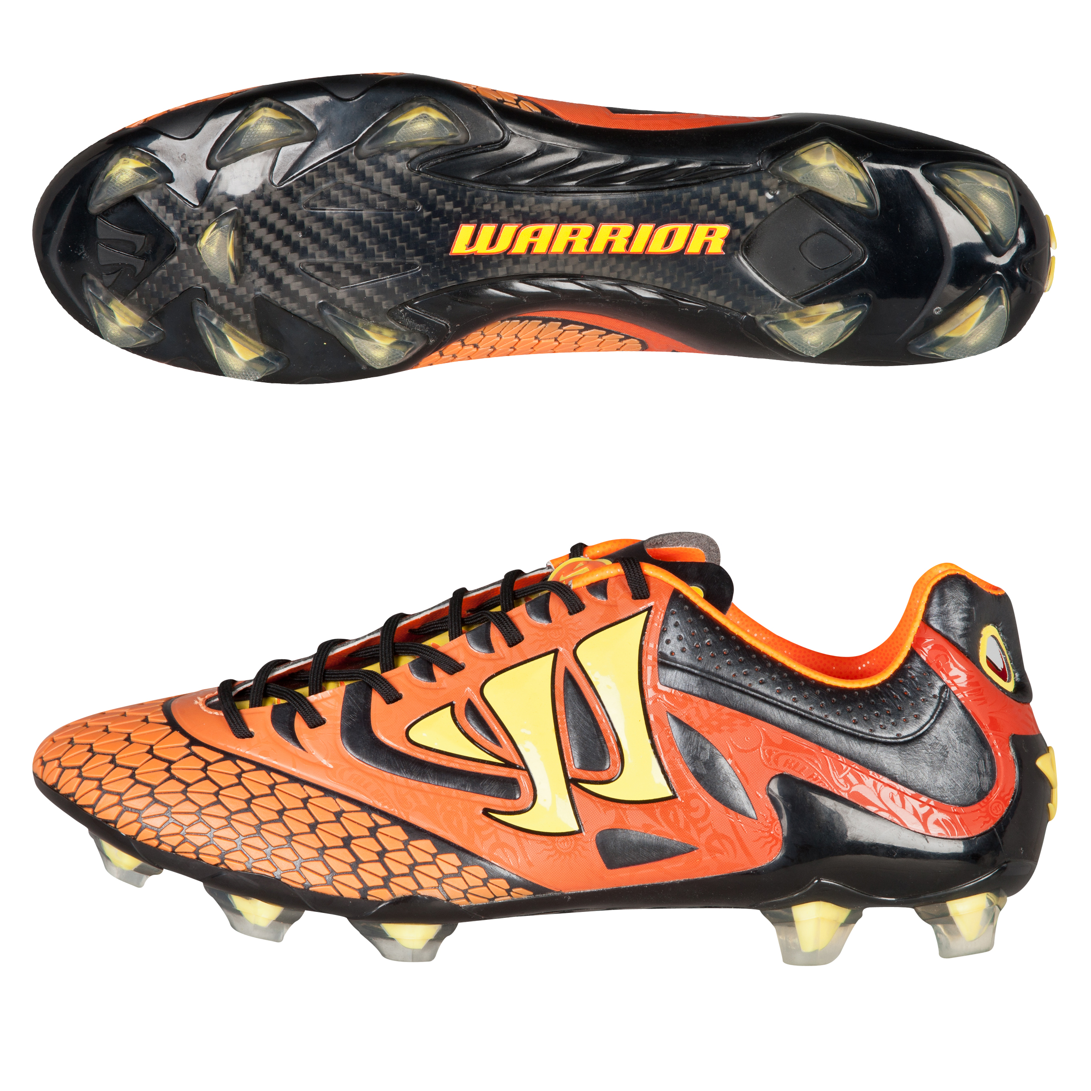 Warrior Sports Skreamer S-Lite Firm Ground Football Boots-Ebony/Orange/Yellow Black