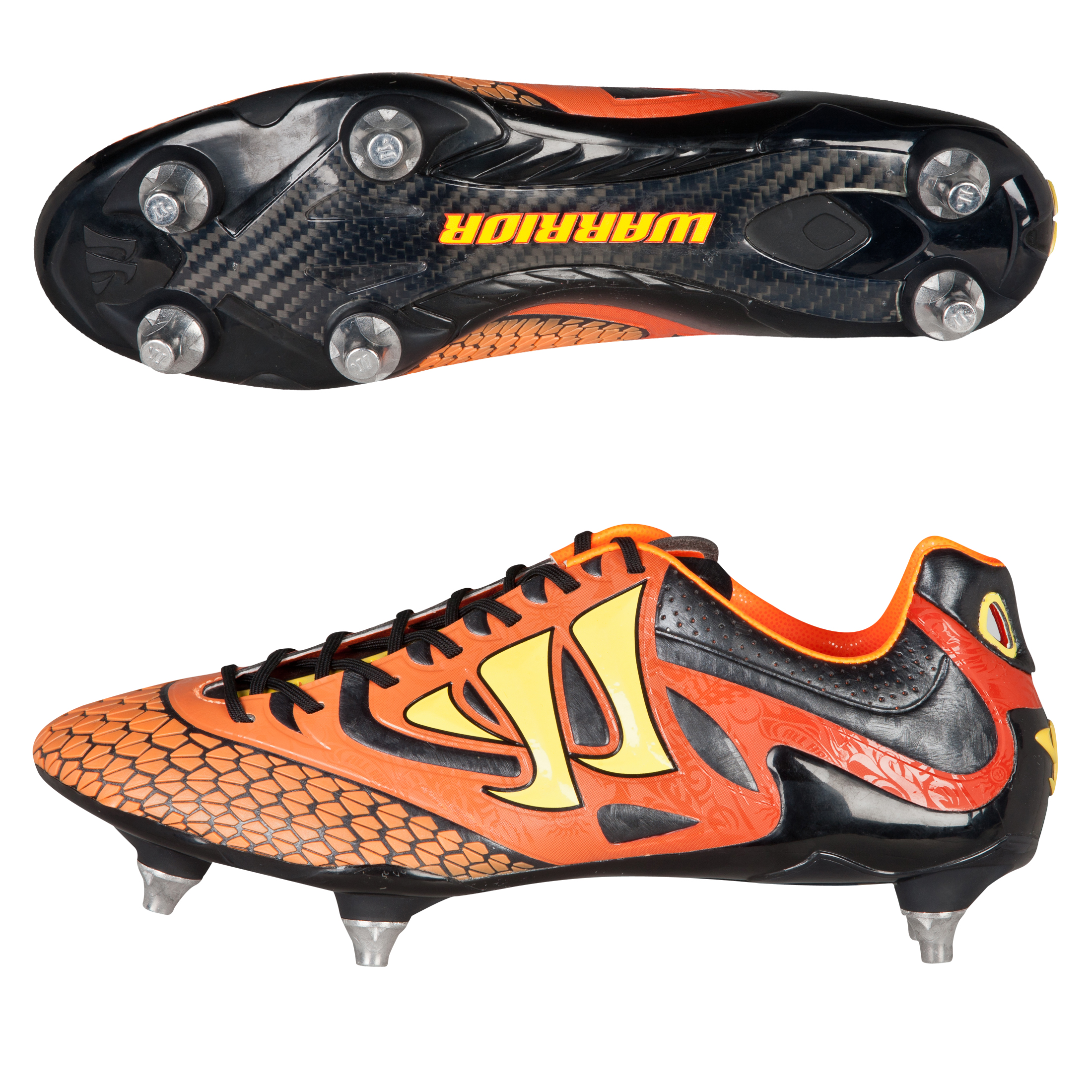 Warrior Sports Skreamer S-Lite Soft Ground Football Boots-Ebony/Orange/Yellow Black
