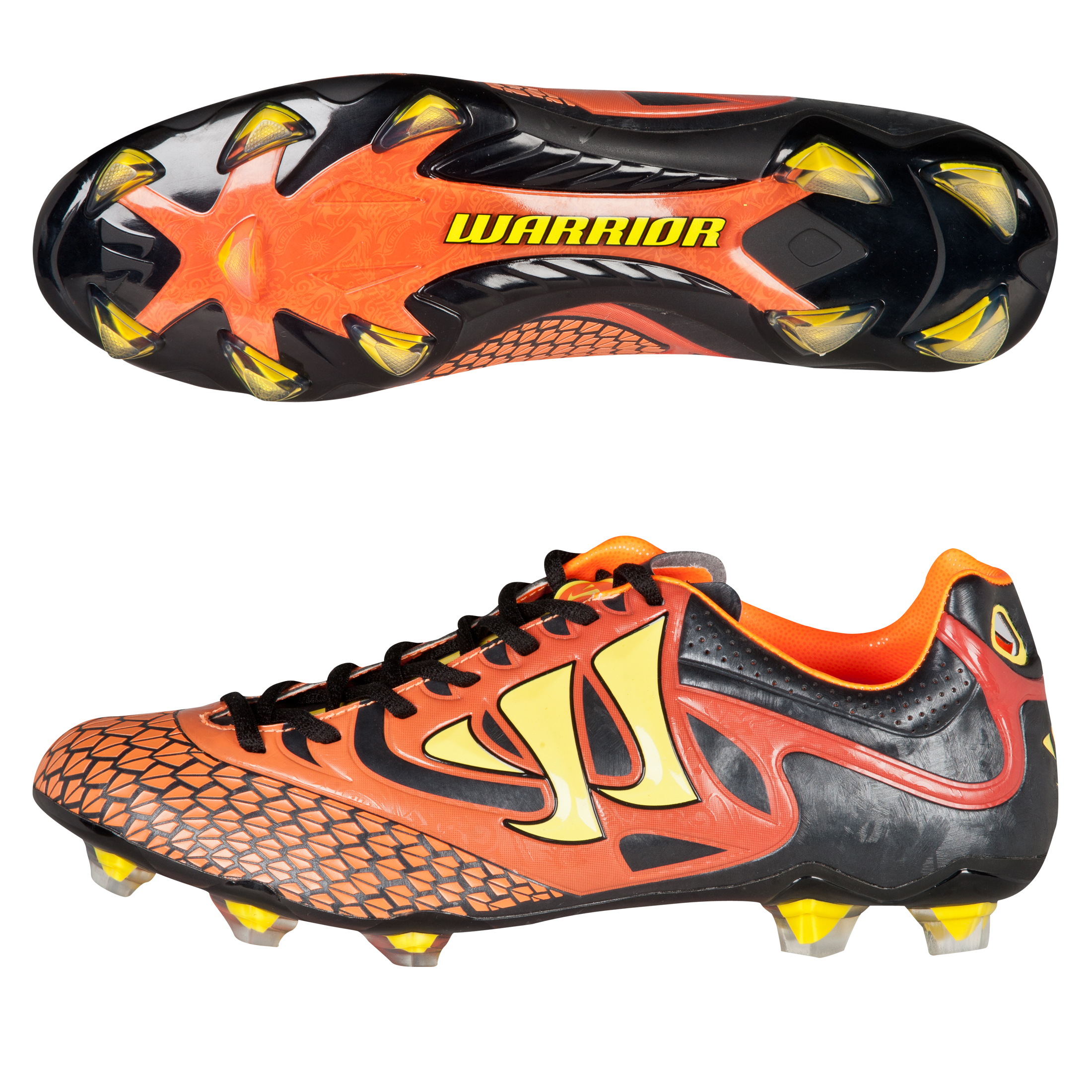 Warrior Sports Skreamer Combat Firm Ground Football Boots-Ebony/Orange/Yellow Black