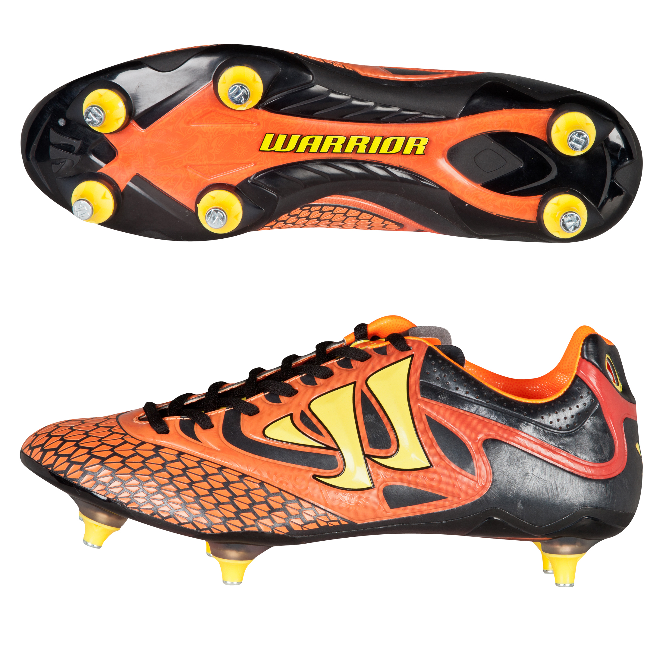 Warrior Sports Skreamer Combat Soft Ground Football Boots-Kids-Ebony/Orange/Yellow Black