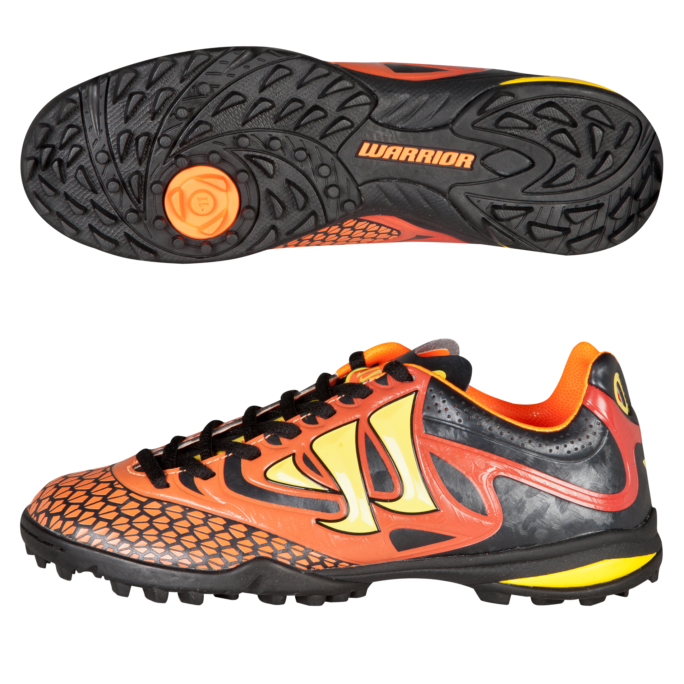 Warrior Sports Skreamer Combat Astroturf Trainers-Kids-Ebony/Orange/Yellow Black