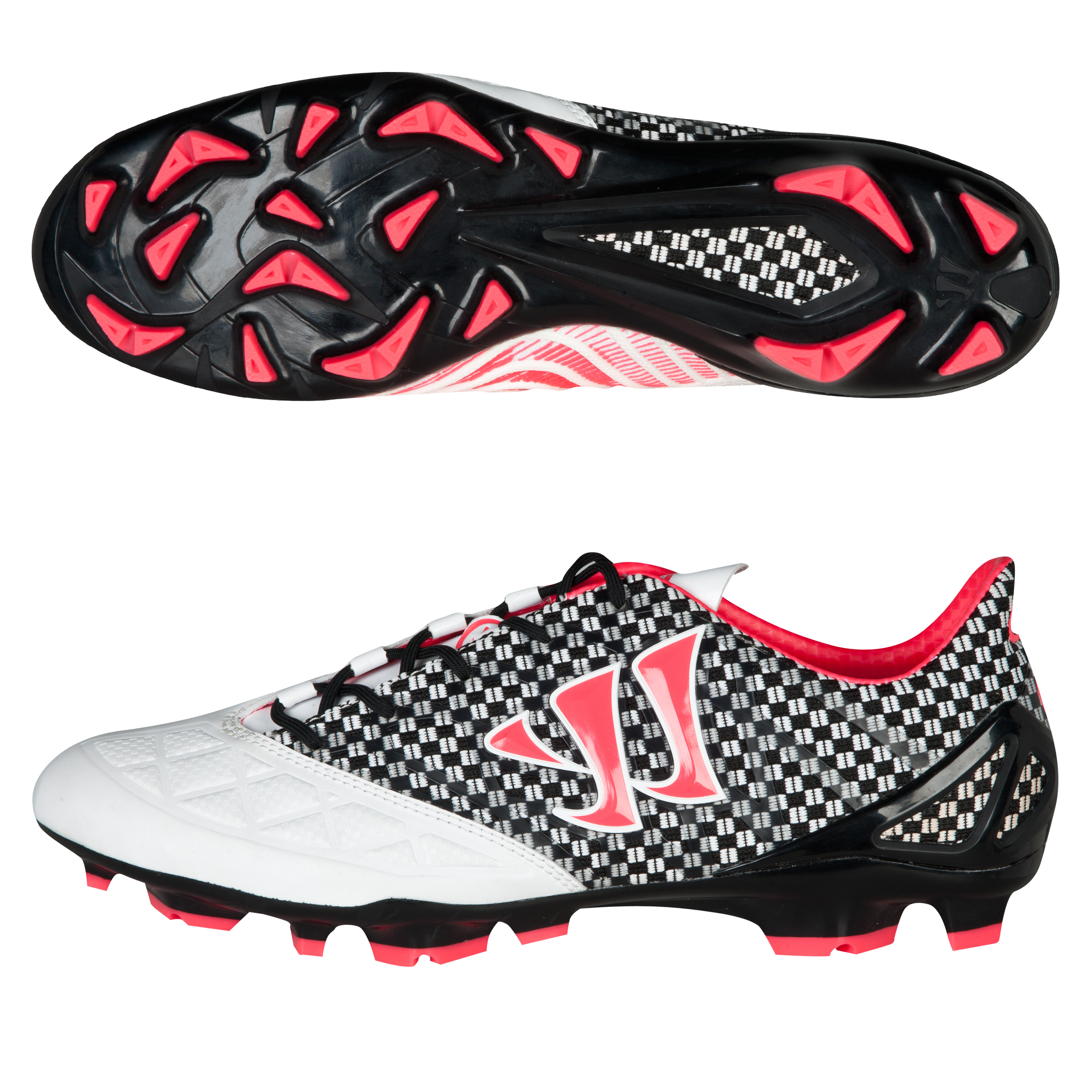 Warrior Sports Gambler S-Lite Firm Ground Football Boots- Whi/Blk/Pink White