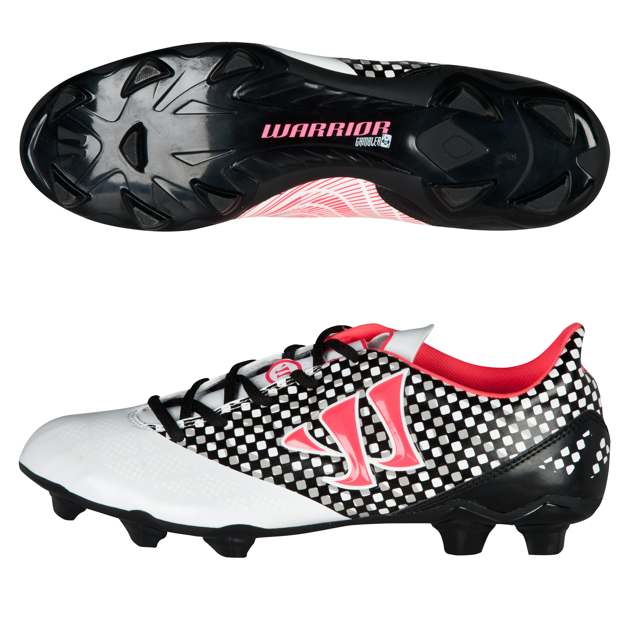 Warrior Sports Gambler Combat Firm Ground Football Boots-Wht/Blk/Pink White