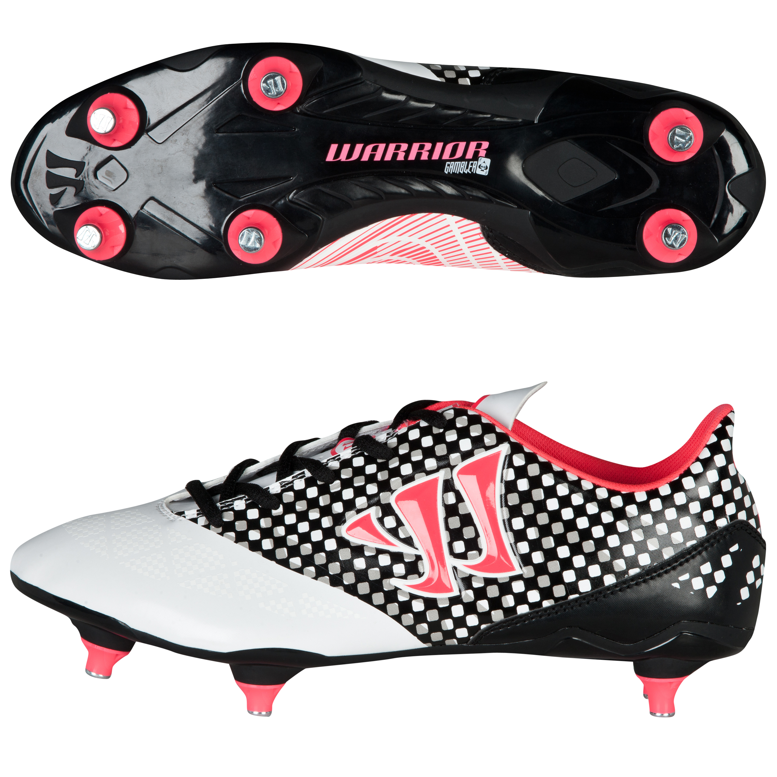 Warrior Sports Gambler Combat Soft Ground Football Boots- Wht/Blk/Pink White