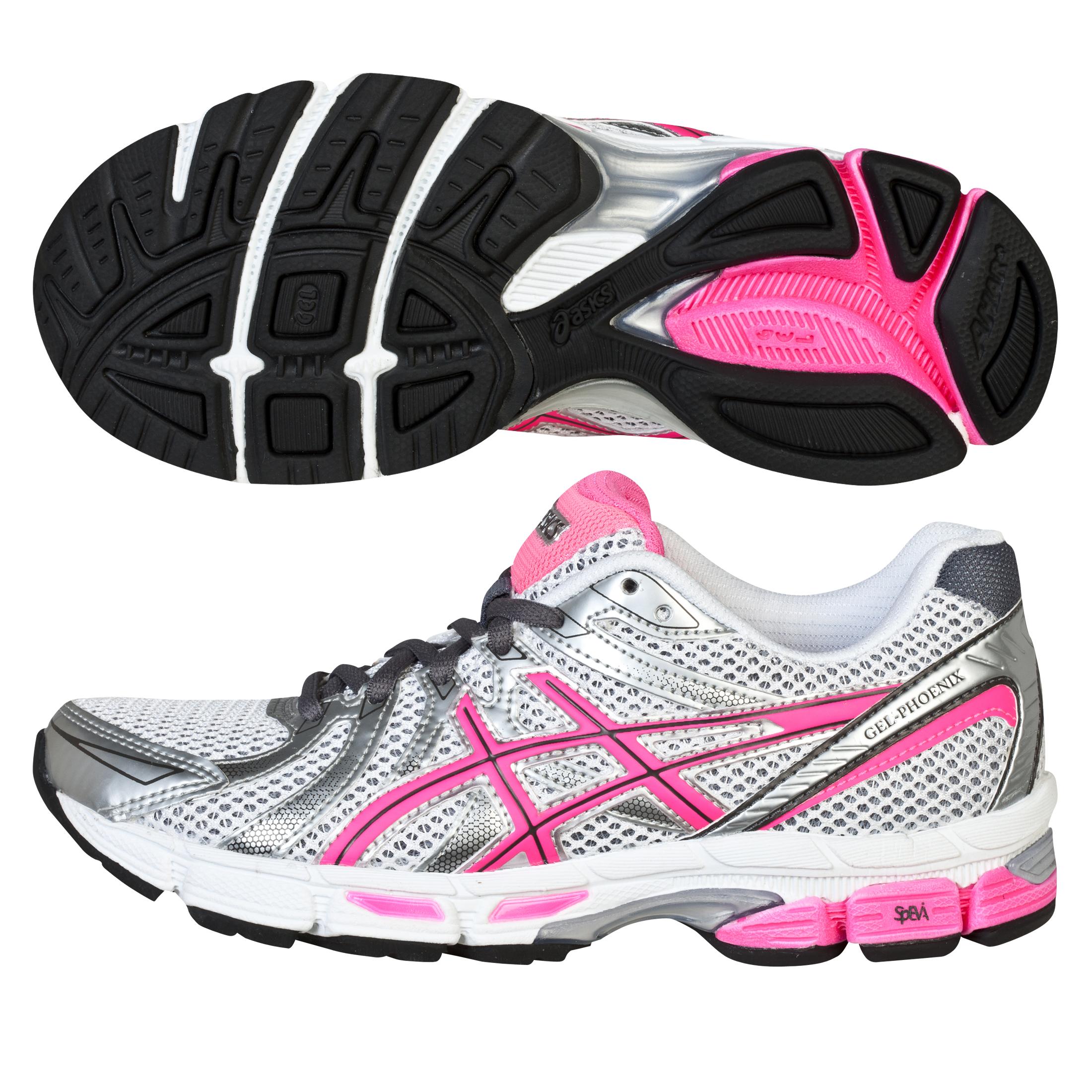 Running Gel Phoenix 5 Trainer - White/Neon Pink/Silver - Womens White