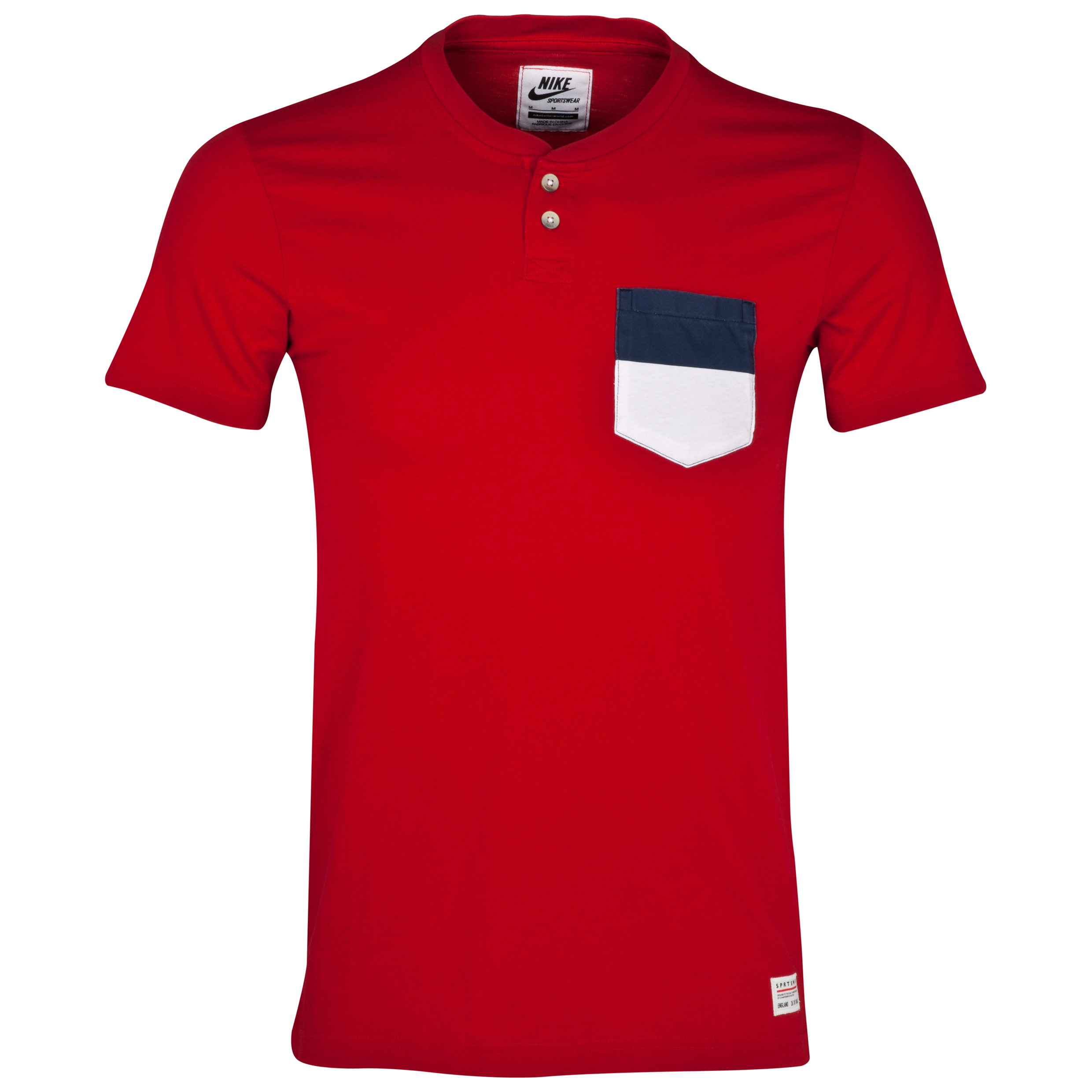 England Covert Pocket Henley T-Shirt - Mens Red
