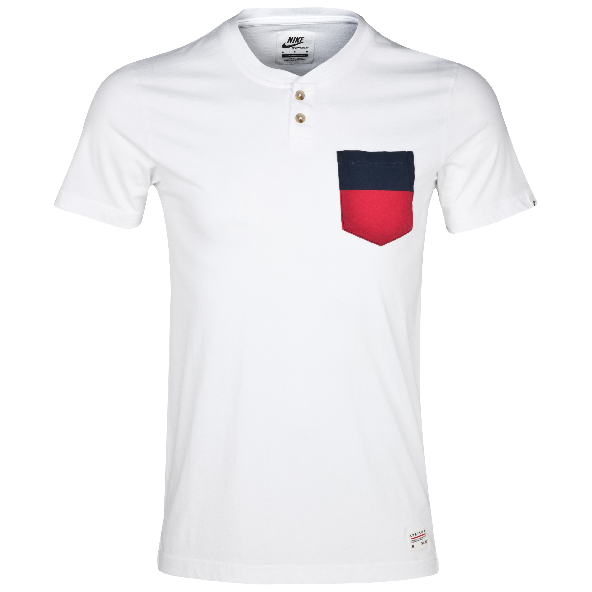 England Covert Pocket Henley T-Shirt - Mens White