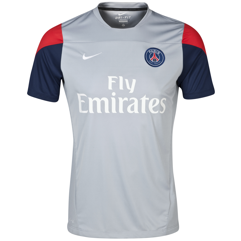 Paris Saint-Germain Squad Training Top - Wolf Grey/Midnight Navy/Challenge Red/White Grey