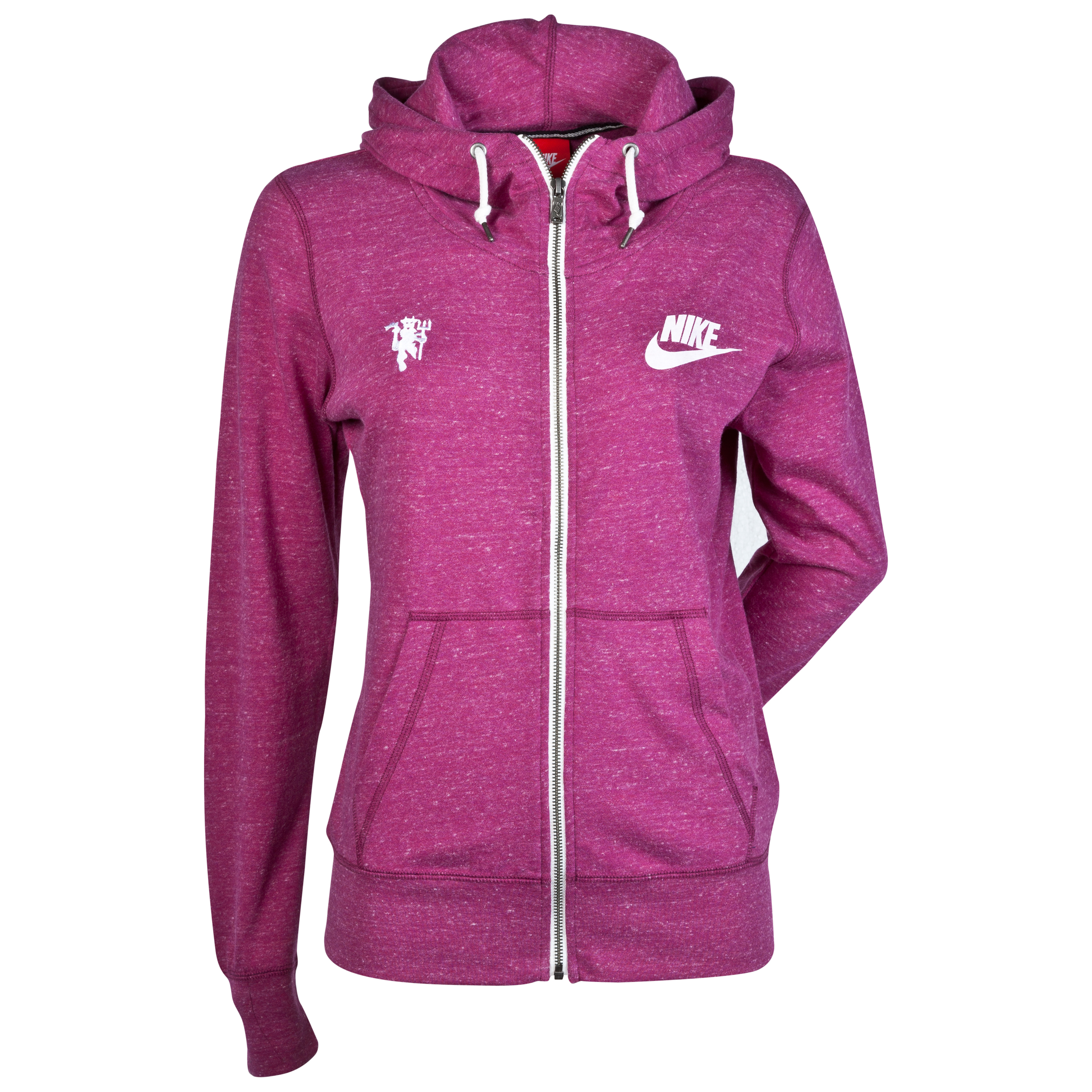 Manchester United Gym Vintage Full Zip Hoody - Raspberry Red/Sail - Womens Red