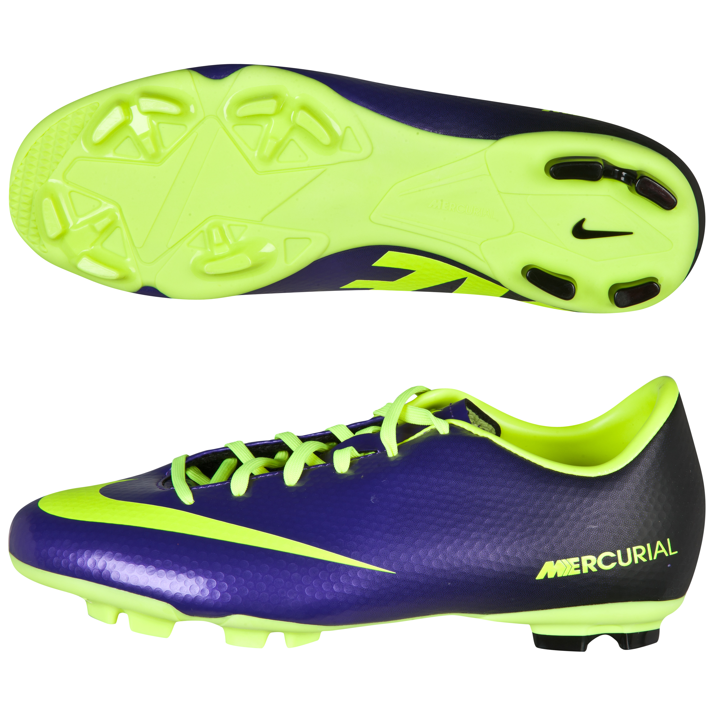 Nike Mercurial Victory Iv Firm Ground Football Boots - Kids-Electro Purple/Volt/Black Purple