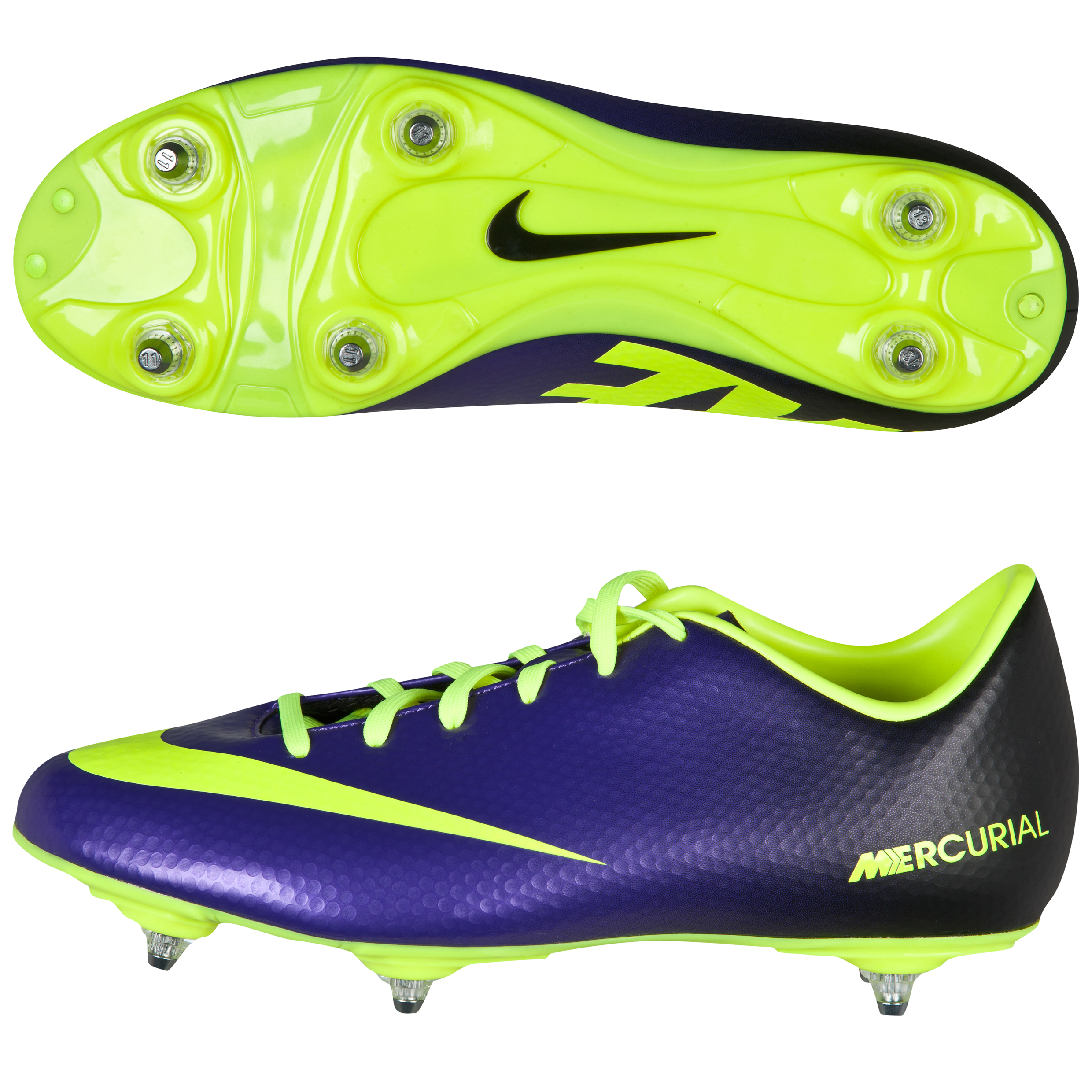 Nike Mercurial Victory Iv Soft Ground Football Boots - Kids-Electro Purple/Volt/Black Purple