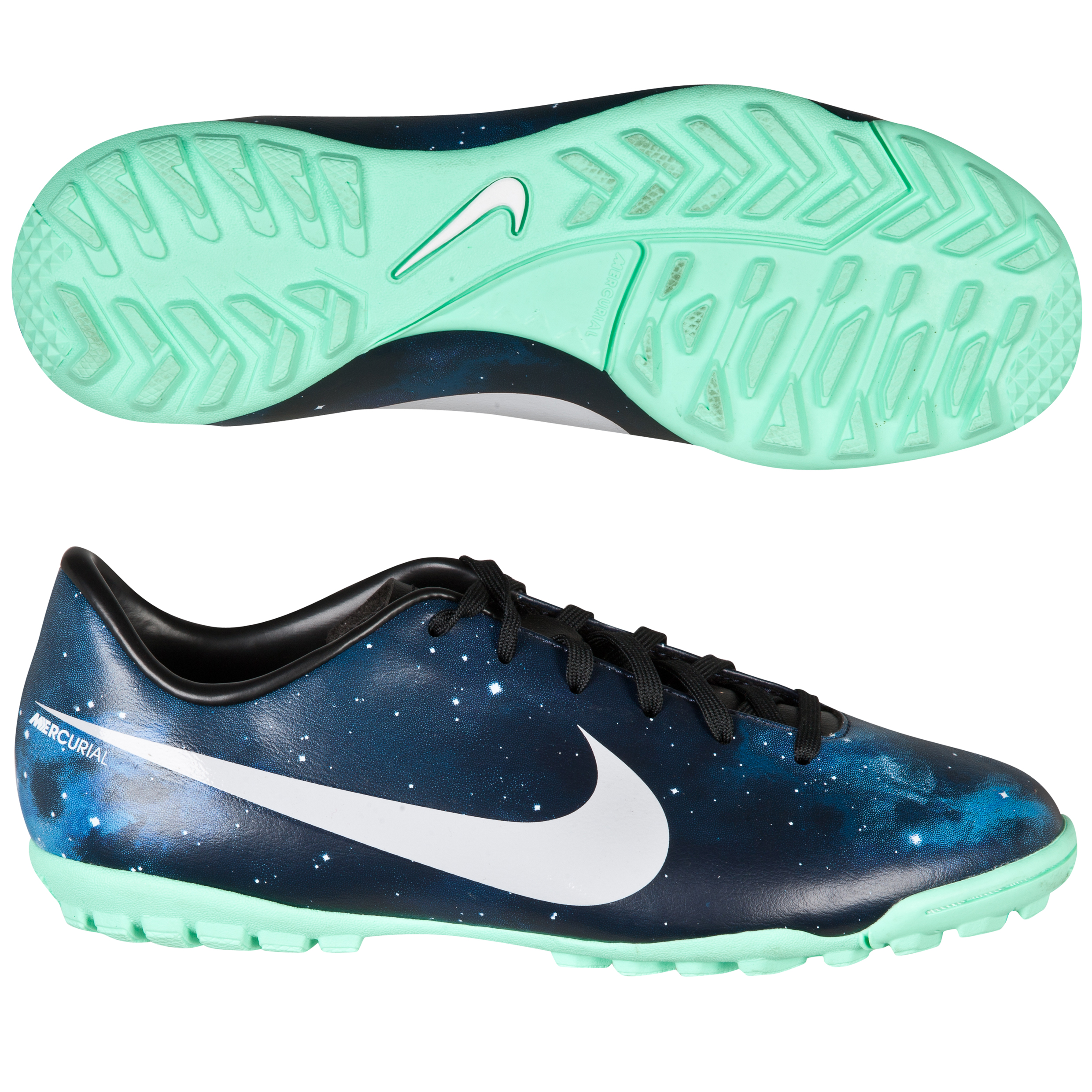 Nike Mercurial Victory IV CR Astroturf Trainers - Kids-Dark Obsidian/Metallic Plantinum/Green Glow/Black Navy