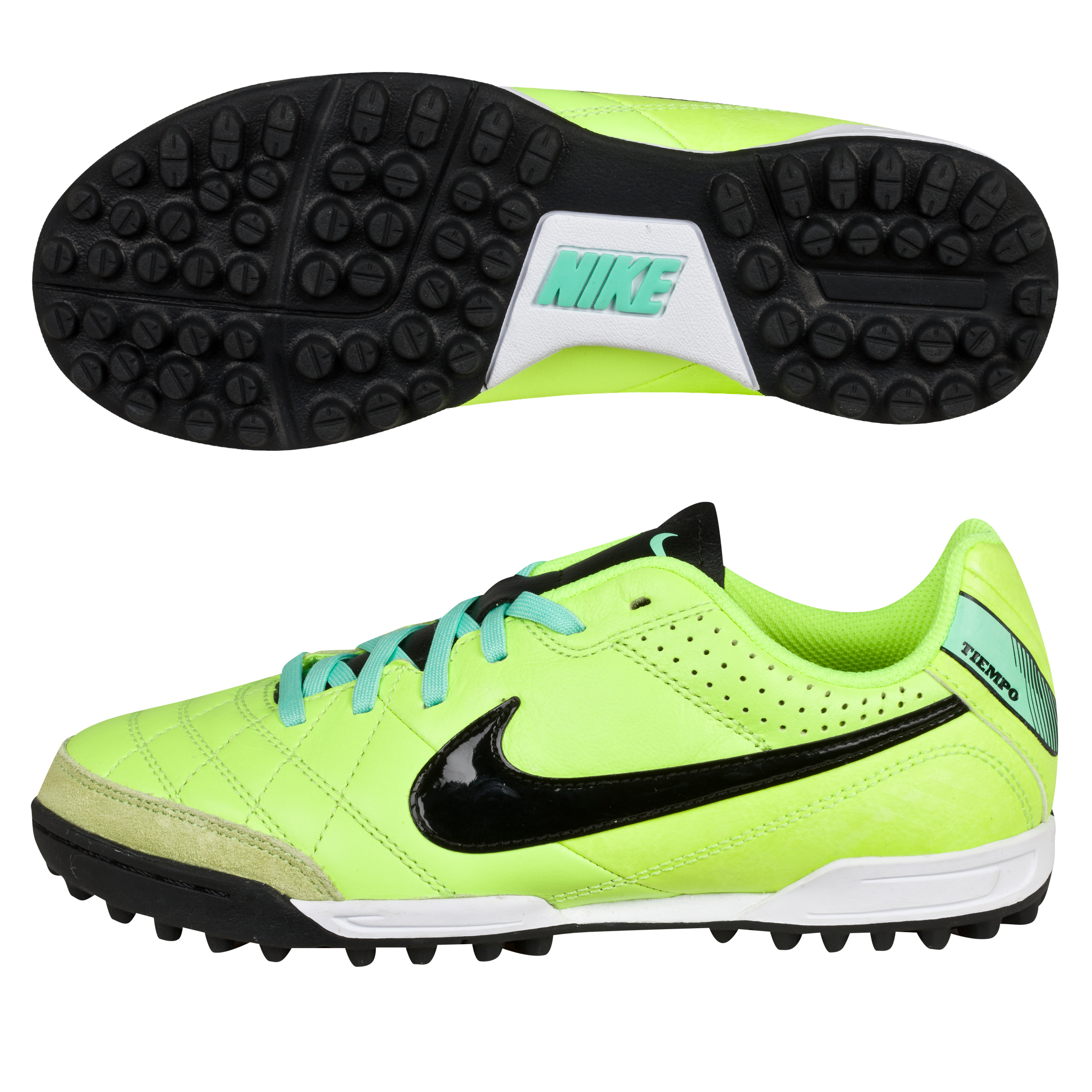 Nike Tiempo Natural Iv Astroturf Trainers - Kids-Volt/Black/Green Glow Lt Green