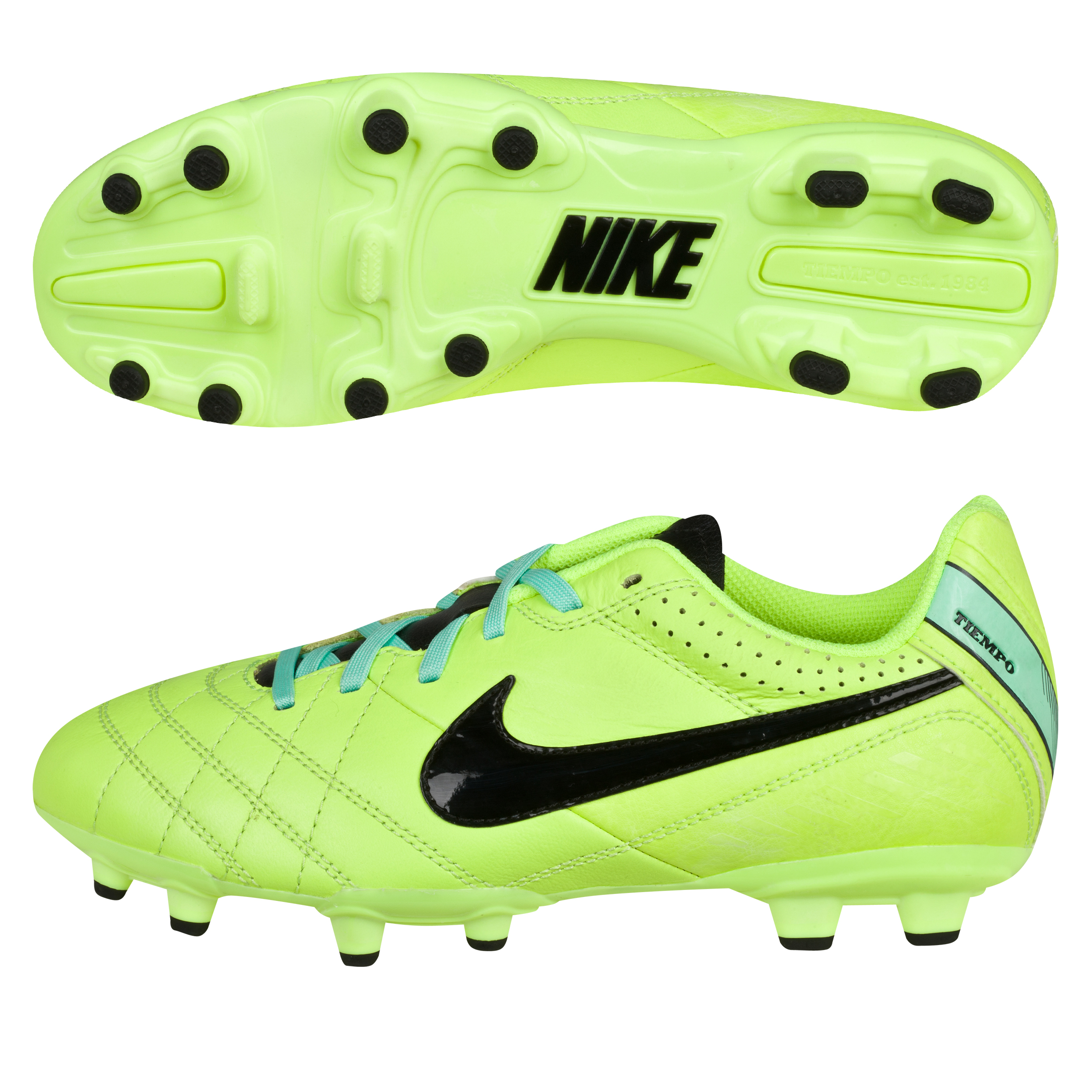 Nike Tiempo Natural Iv Firm Ground Football Boots - Kids-Volt/Black/Green Glow Lt Green