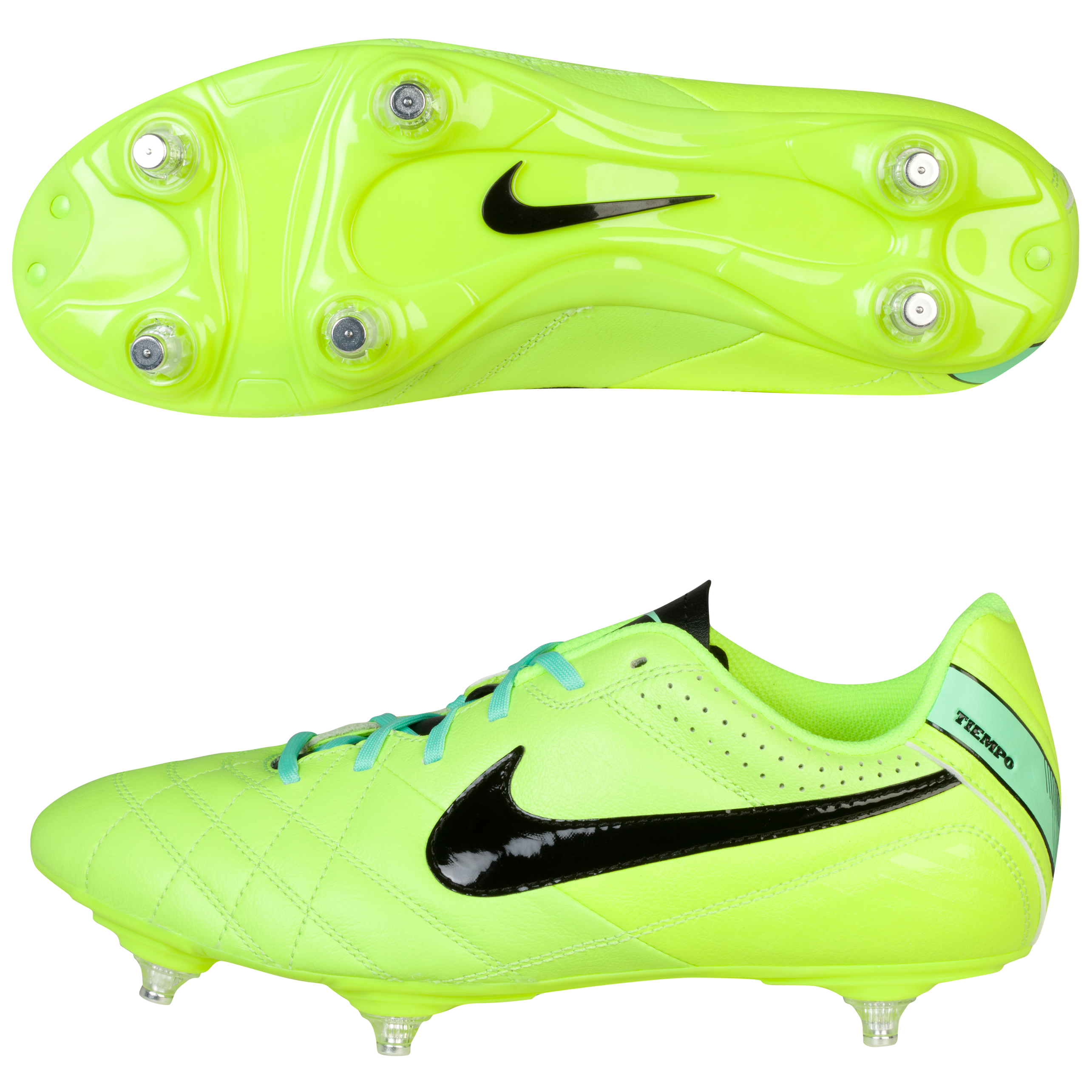 Nike Tiempo Natural Iv Soft Ground Football Boots - Kids-Volt/Black/Green Glow Lt Green