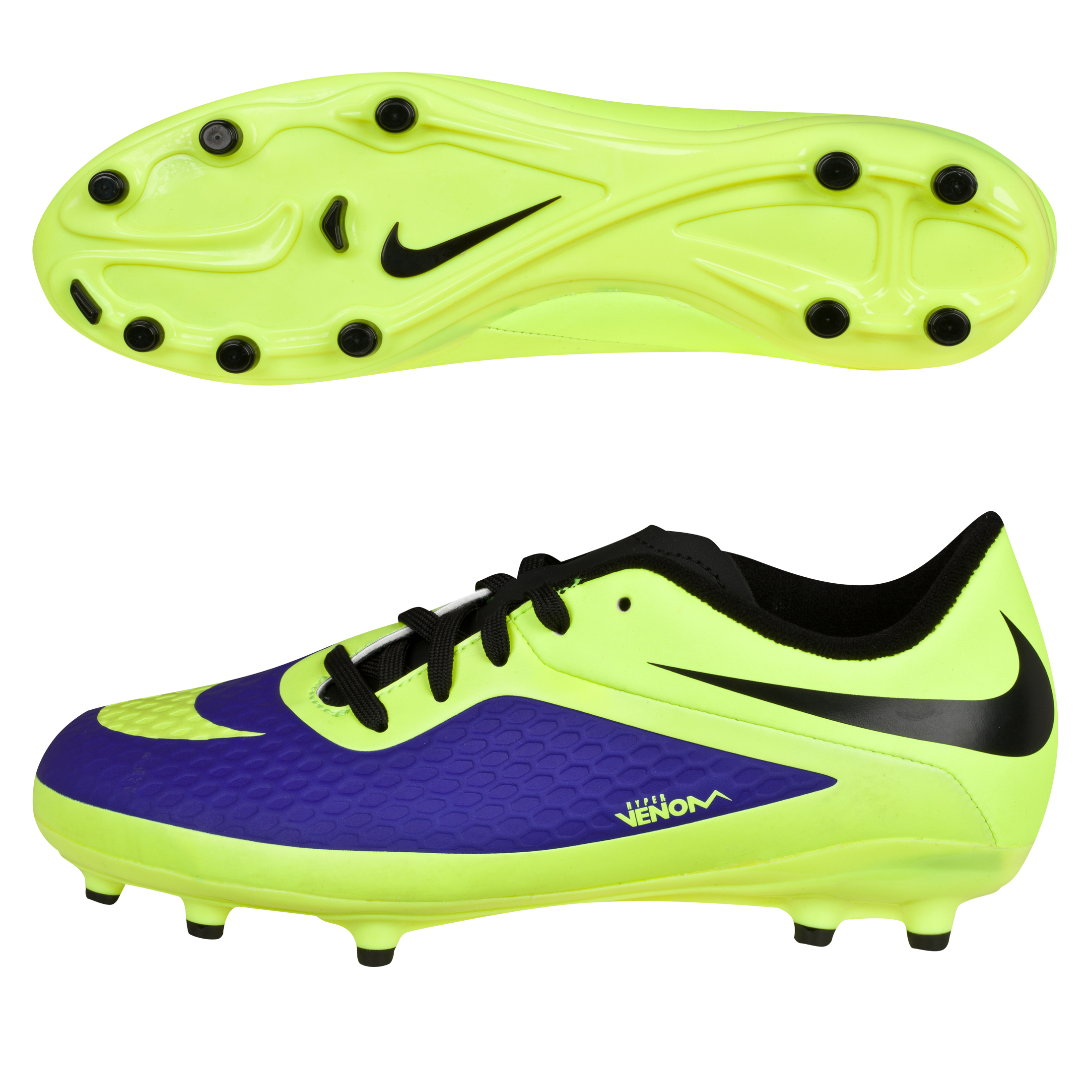 Nike Hypervenom Phelon Firm Ground Football Boots-kids-Electro Purple/Volt/Black Purple